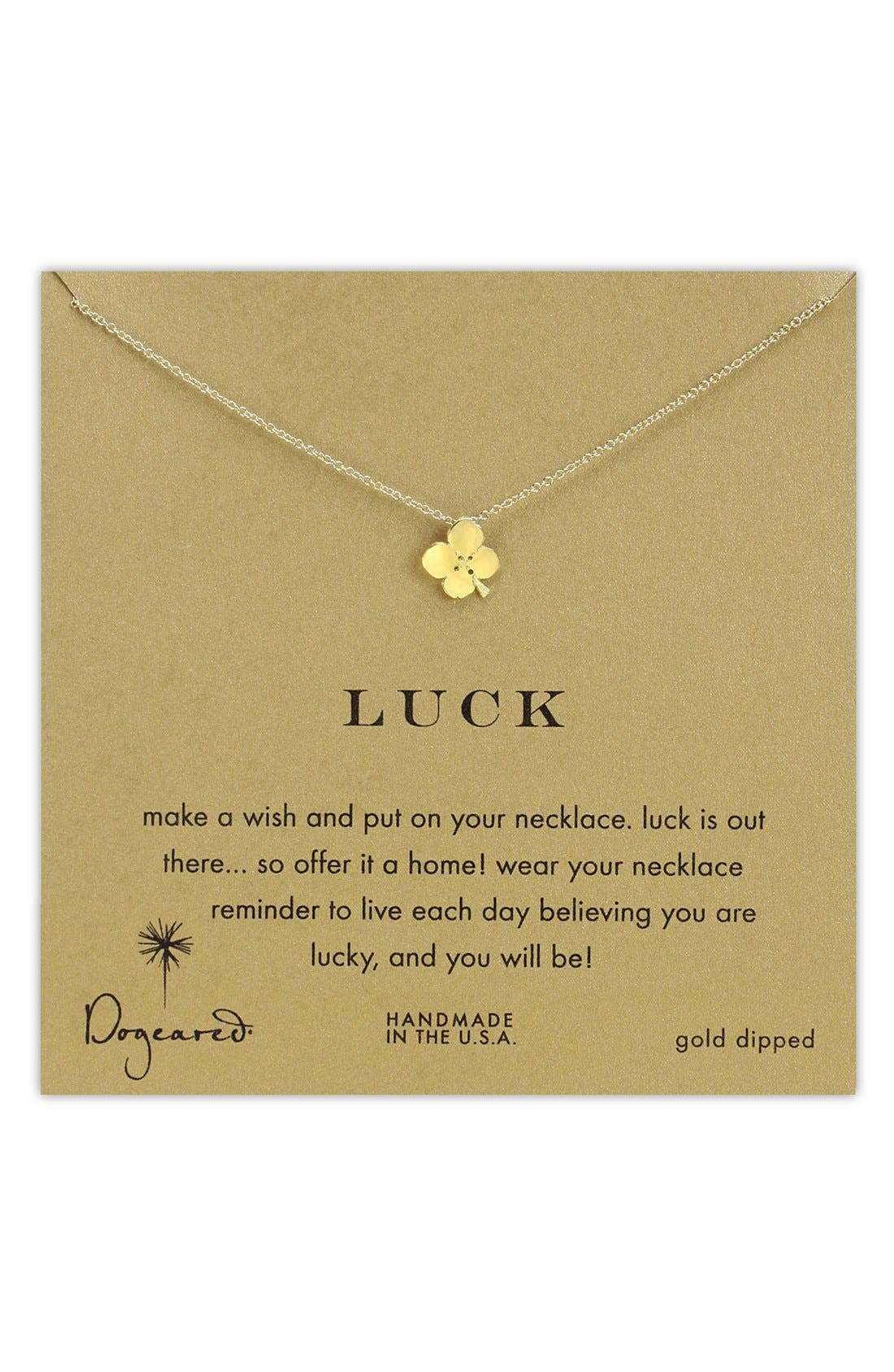 Main Image - Dogeared 'Luck' Clover Pendant Necklace