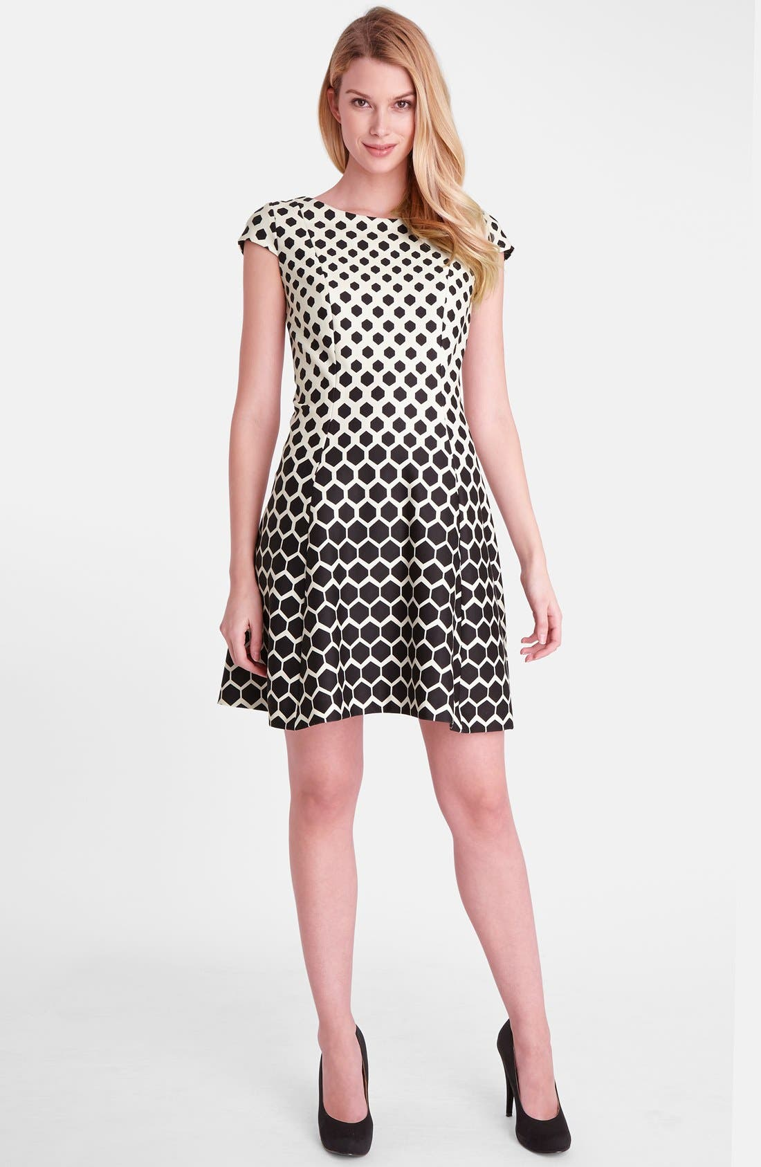 Alternate Image 1 Selected - Tahari Print Ponte Fit & Flare Dress (Regular & Petite)