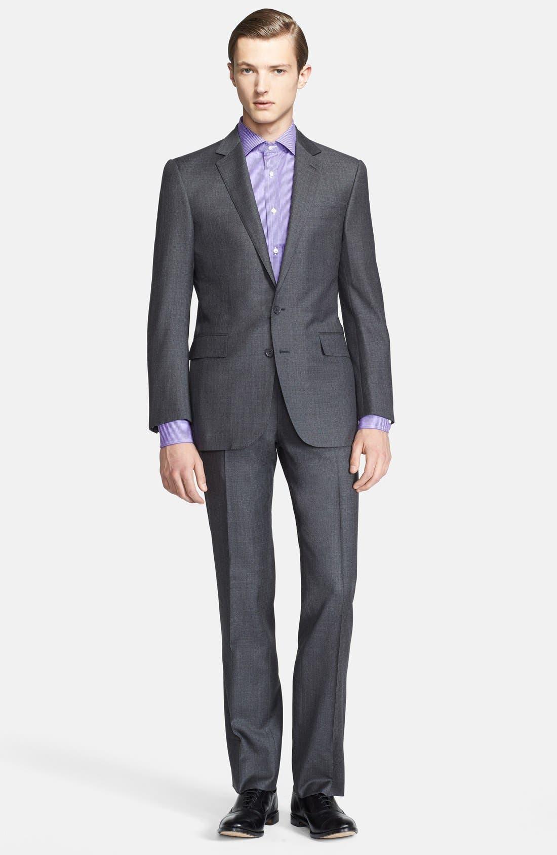 Alternate Image 1 Selected - Ralph Lauren Black Label Trim Fit Grey Wool Suit