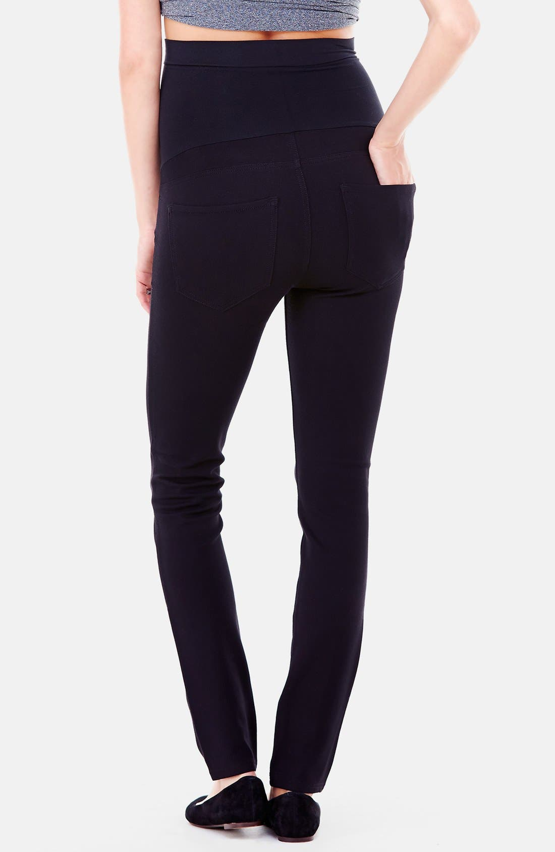 Alternate Image 2  - Ingrid & Isabel® Ponte Knit Skinny Maternity Pants