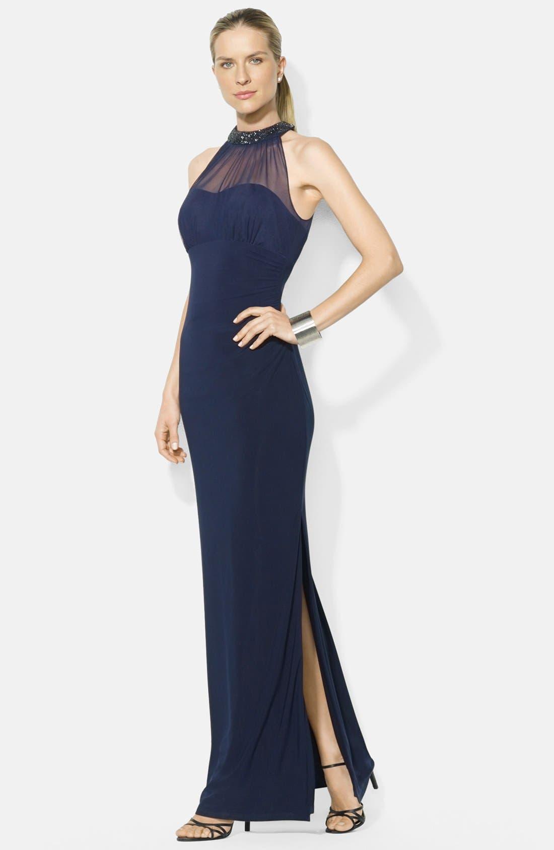 Main Image - Lauren Ralph Lauren Side Slit Beaded Matte Jersey Empire Gown