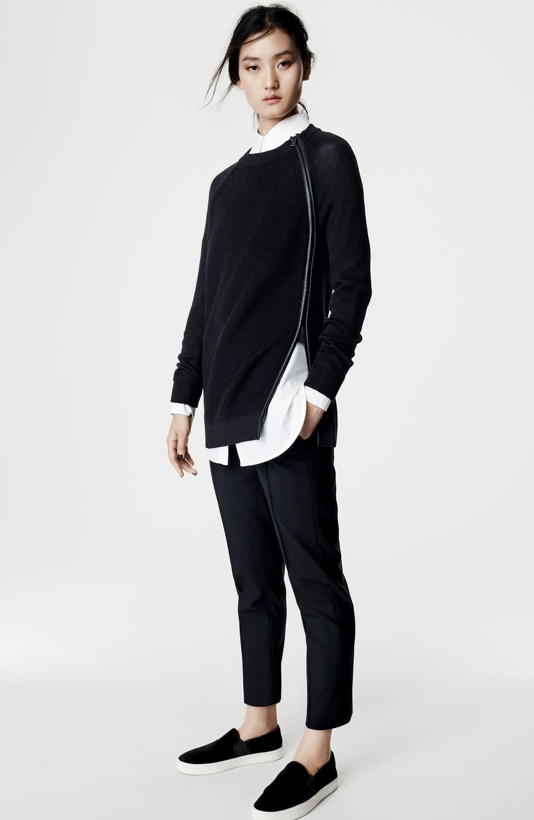 Alternate Image 4  - Vince Leather Trim Texture Sweater