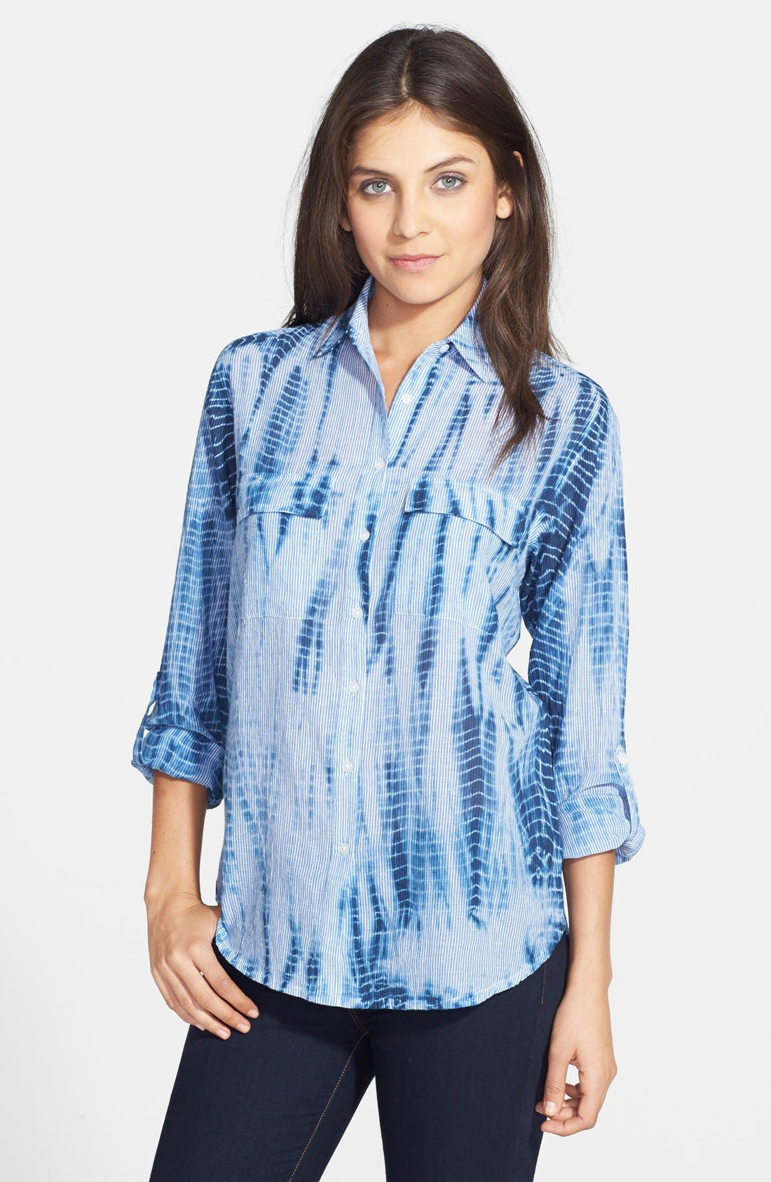 Main Image - Chaus Tie Dye Print Roll Sleeve Cotton Shirt