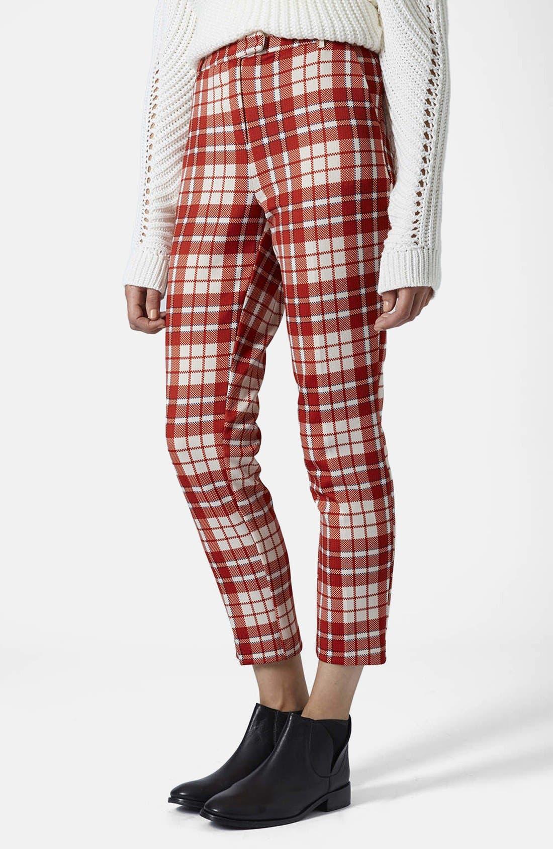 Main Image - Topshop Laundry Check Cigarette Trousers