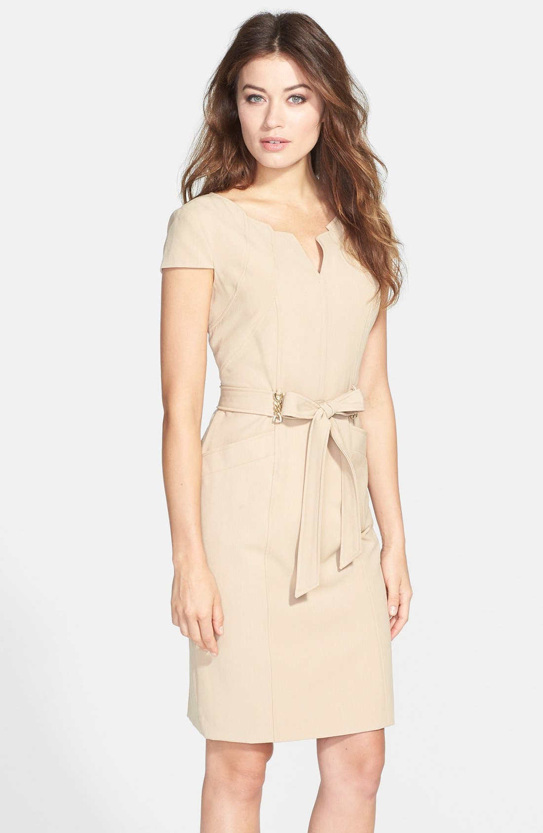 Main Image - Ellen Tracy Belted Stretch Sheath Dress (Regular & Petite)