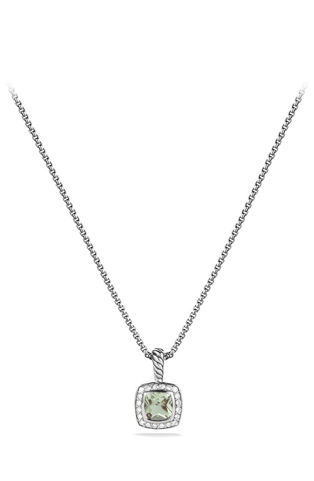 David Yurman 'Albion' Petite Pendant with Prasiolite and Diamonds on Chain