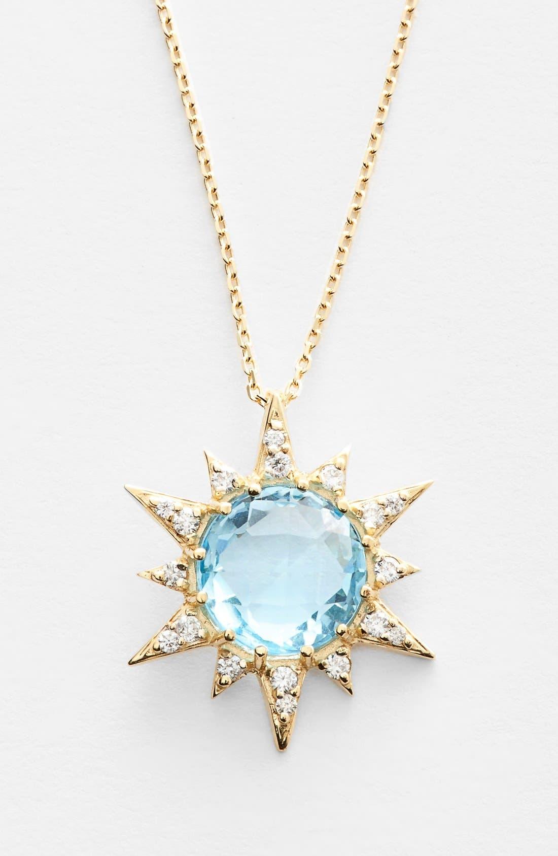 Alternate Image 1 Selected - Anzie 'Aztec' Topaz & Diamond Starburst Pendant Necklace