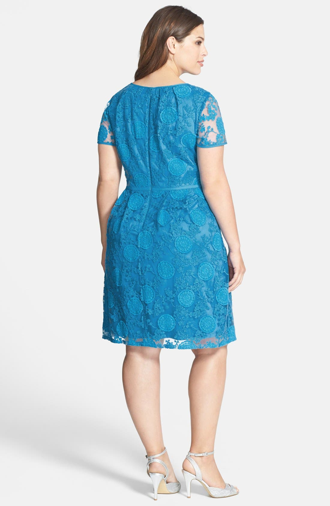 Alternate Image 2  - Adrianna Papell 'Pleats' Lace Dress (Plus Size)
