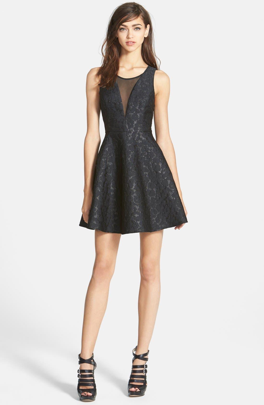 Alternate Image 1 Selected - ASTR Jacquard Fit & Flare Dress