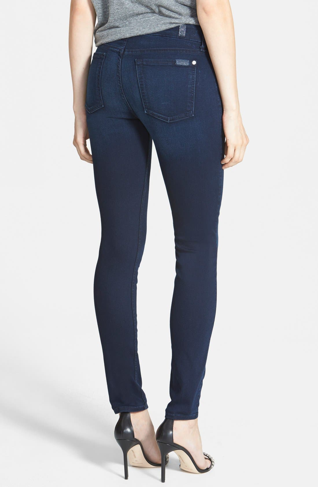 Alternate Image 2  - 7 For All Mankind® 'Slim Illusion Luxe' Mid Rise Skinny Jeans (Rich Blue)