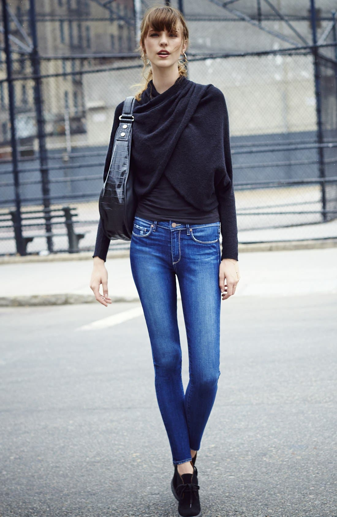 Alternate Image 5  - PAIGE 'Hoxton' High Rise Skinny Jeans (Woodrow)