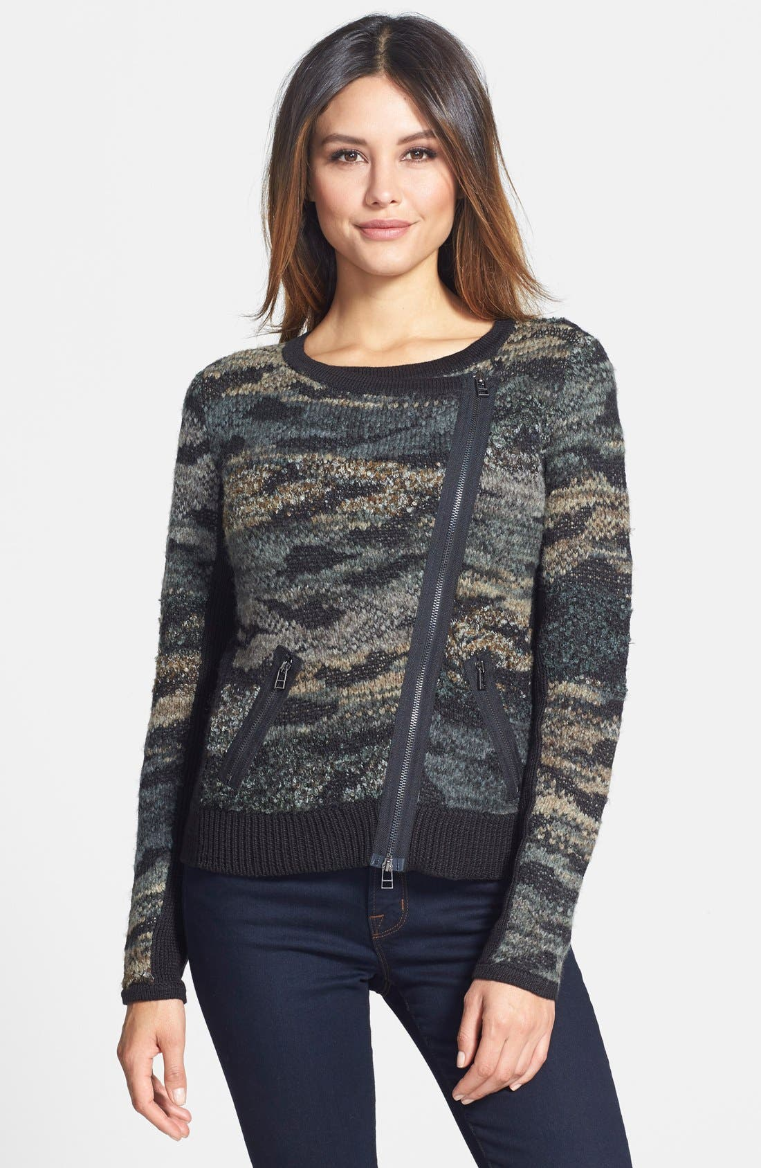 Main Image - Curio Camo Moto Sweater (Petite)