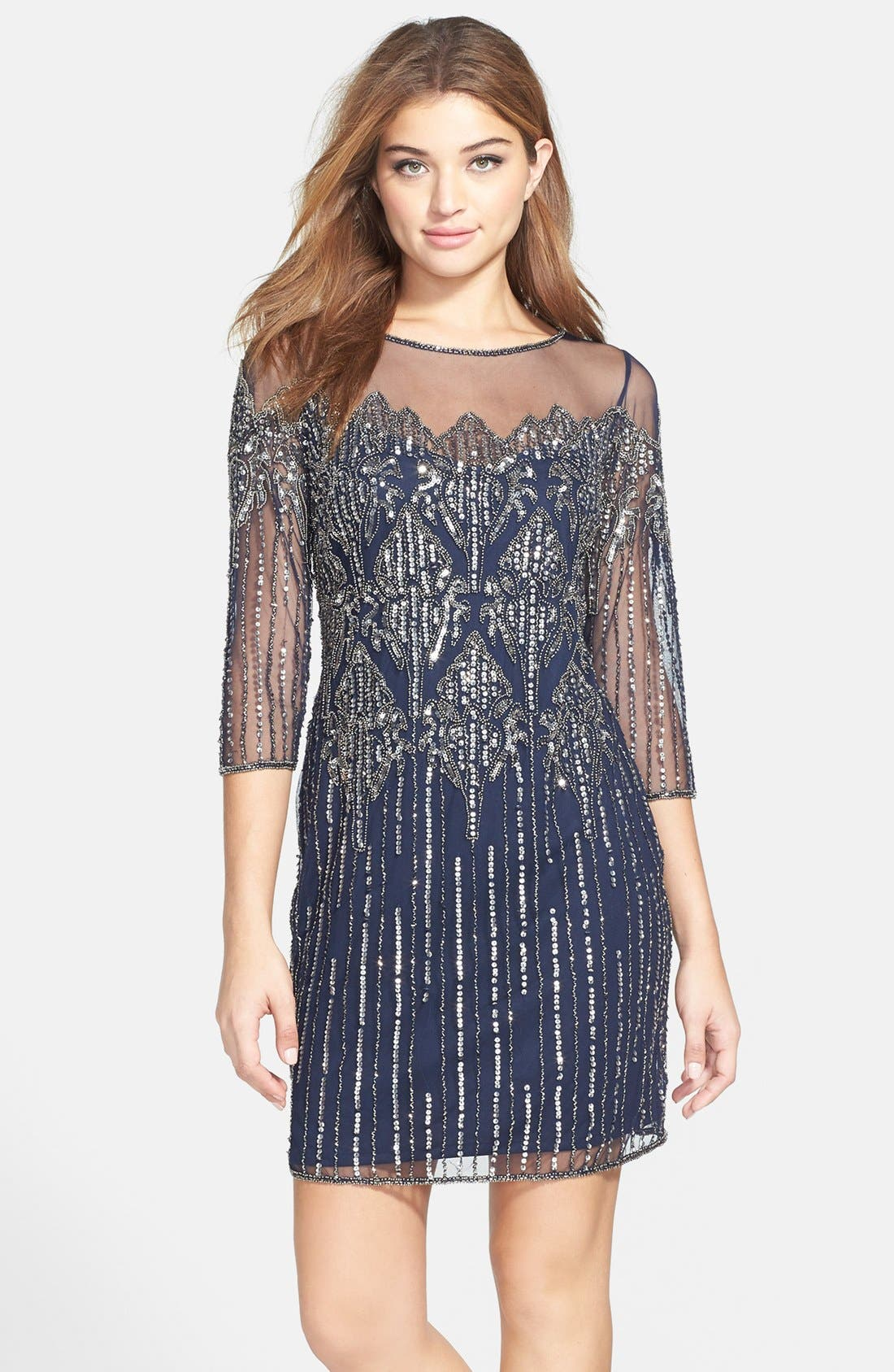 Main Image - Pisarro Nights Illusion Yoke Beaded Cocktail Dress
