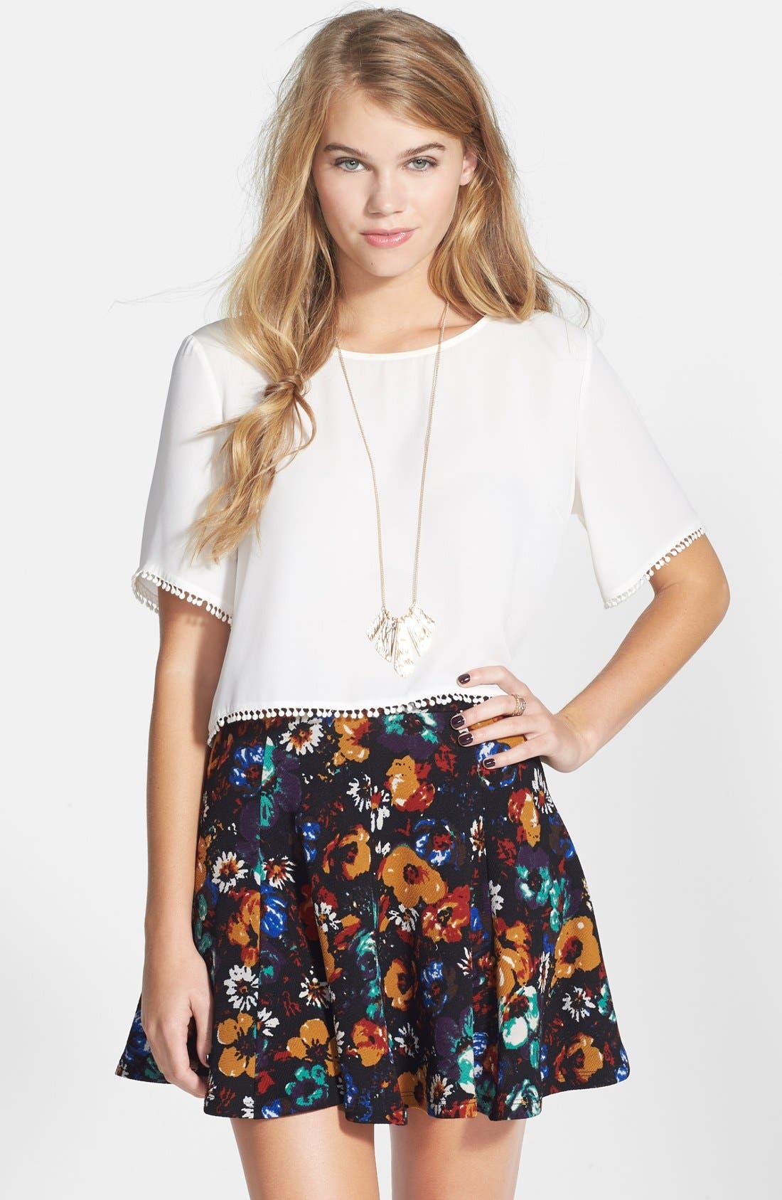 Alternate Image 1 Selected - Lush Textured Skater Skirt
