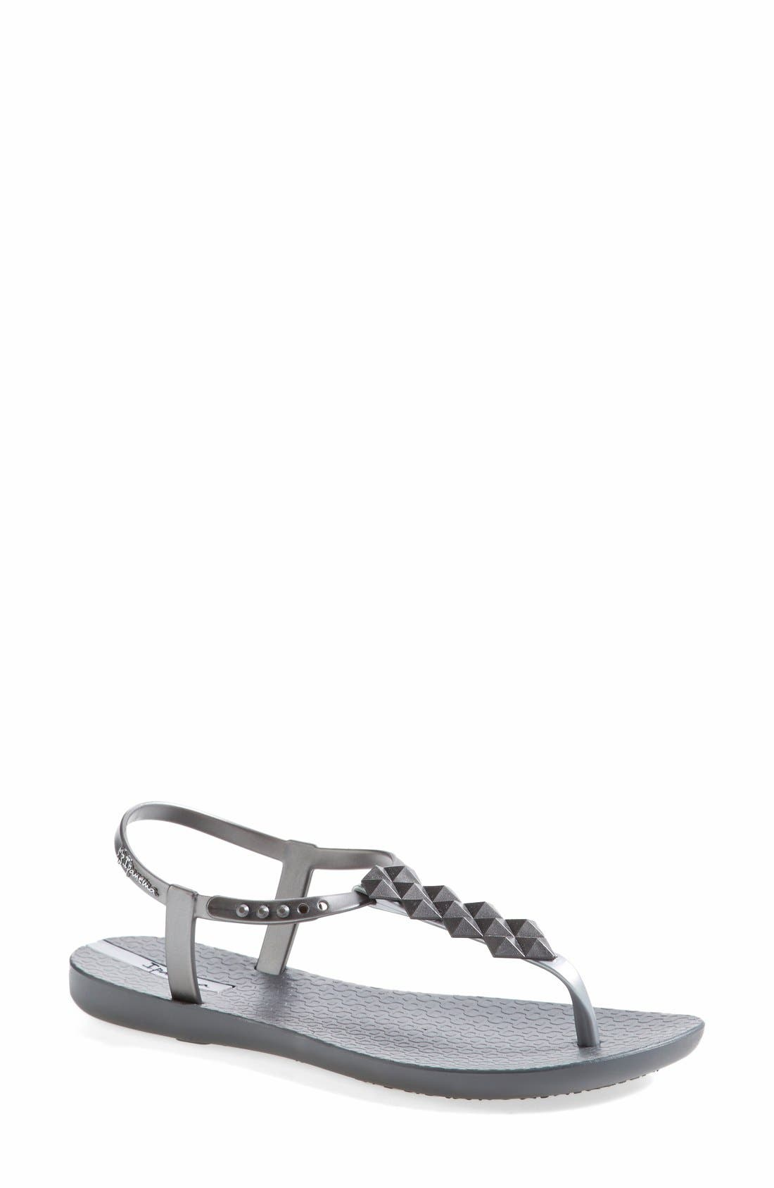 Alternate Image 1 Selected - Ipanema 'Cleo' Pyramid Stud Ankle Strap Flip Flop