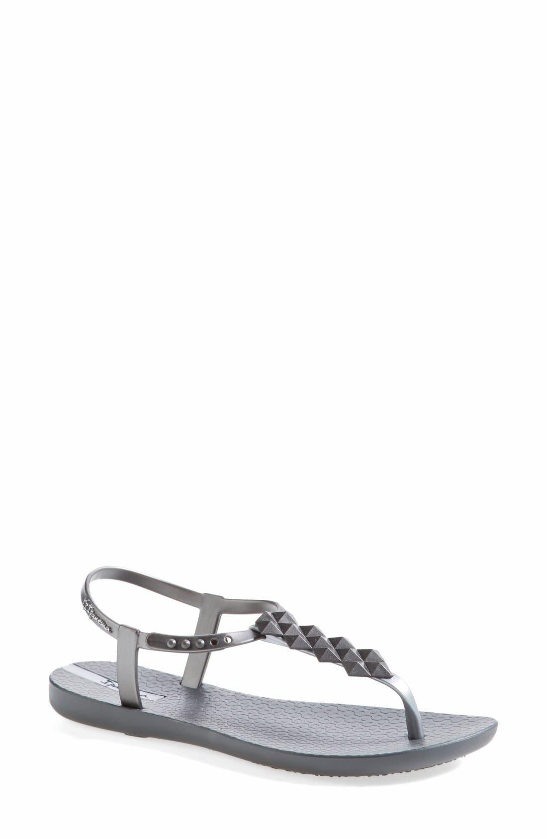 Main Image - Ipanema 'Cleo' Pyramid Stud Ankle Strap Flip Flop