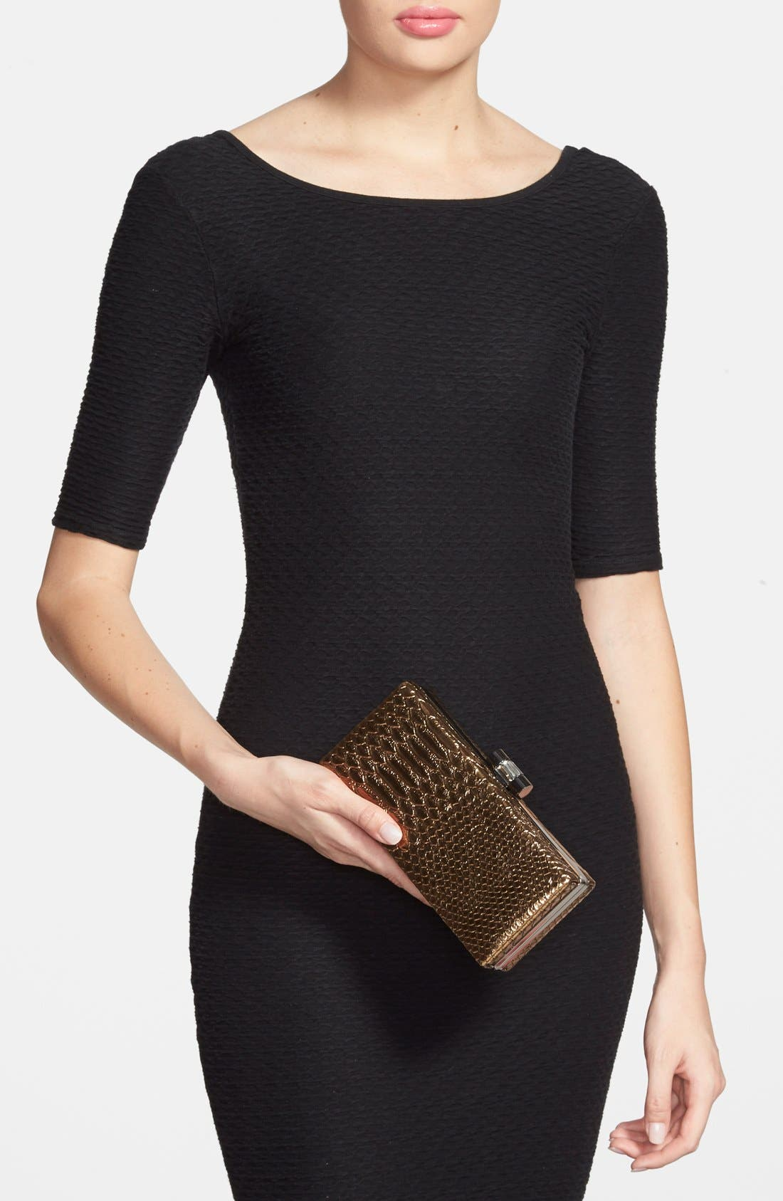 Alternate Image 2  - Jessica McClintock Snake Embossed Box Clutch
