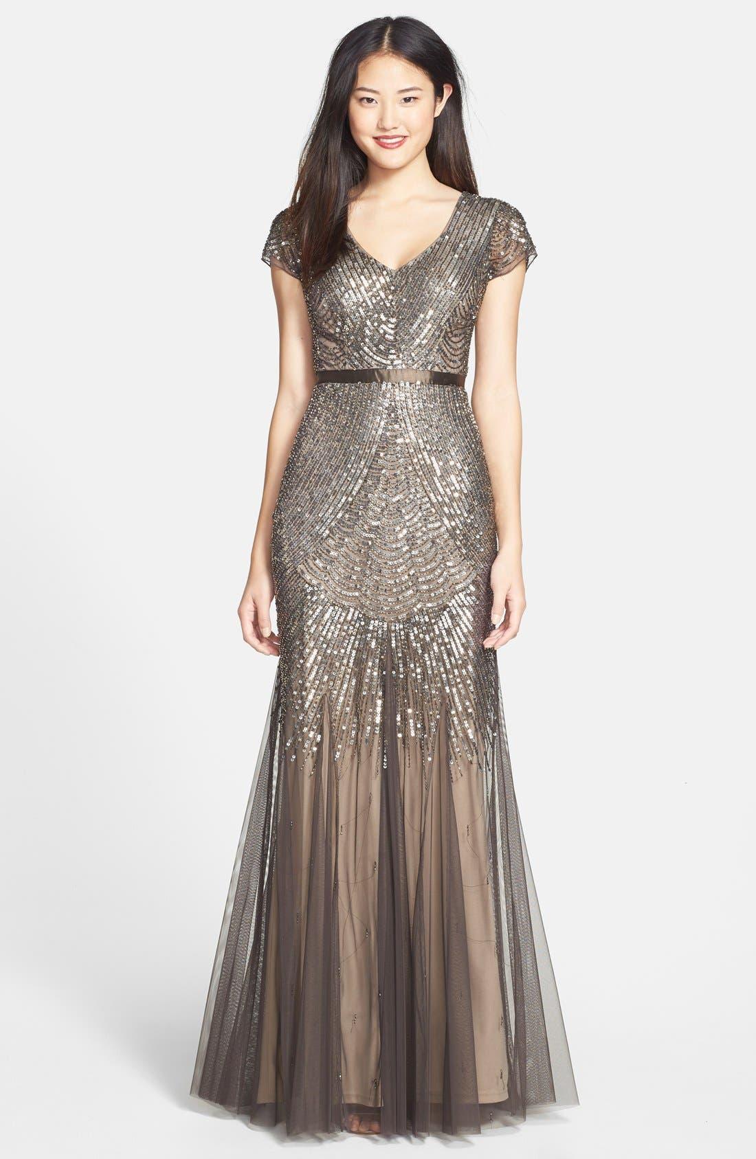 Main Image - Adrianna Papell Beaded Mesh V-Neck Gown (Regular & Petite)