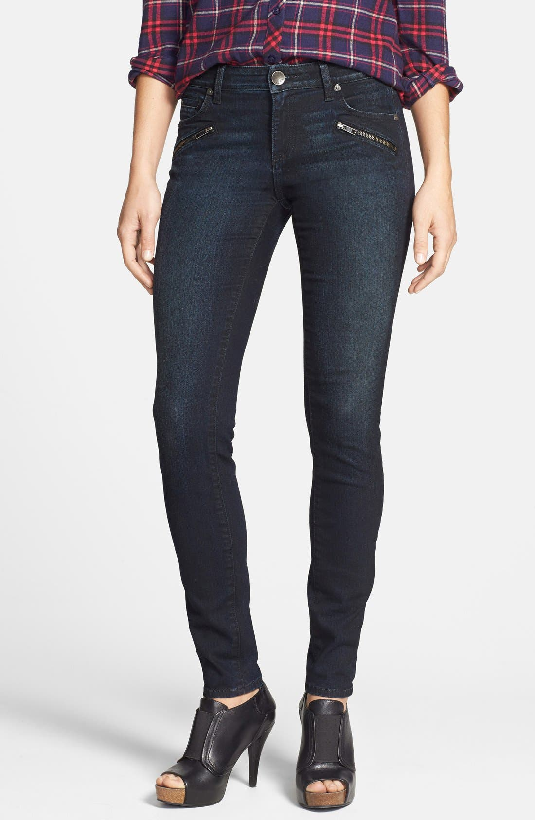 Main Image - KUT from the Kloth 'Diana' Zip Detail Stretch Skinny Jeans (Privileged)