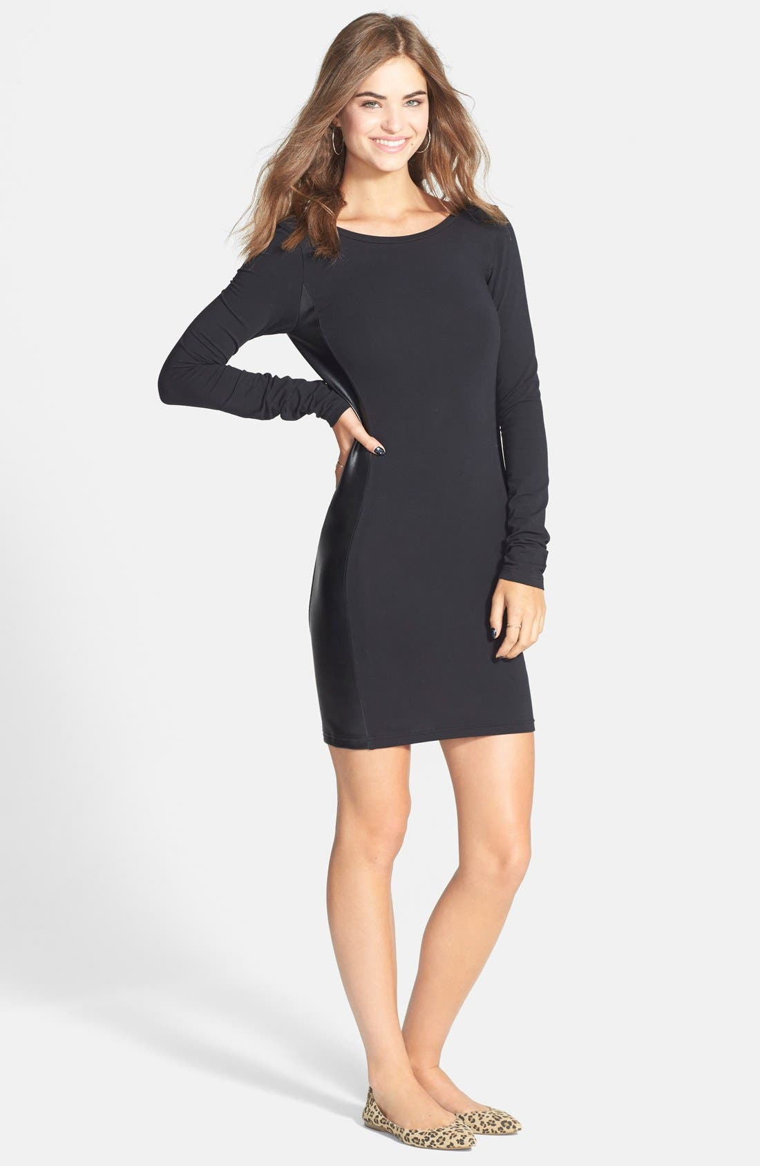 Alternate Image 3  - Frenchi® Faux Leather Panel Body-Con Dress (Juniors)