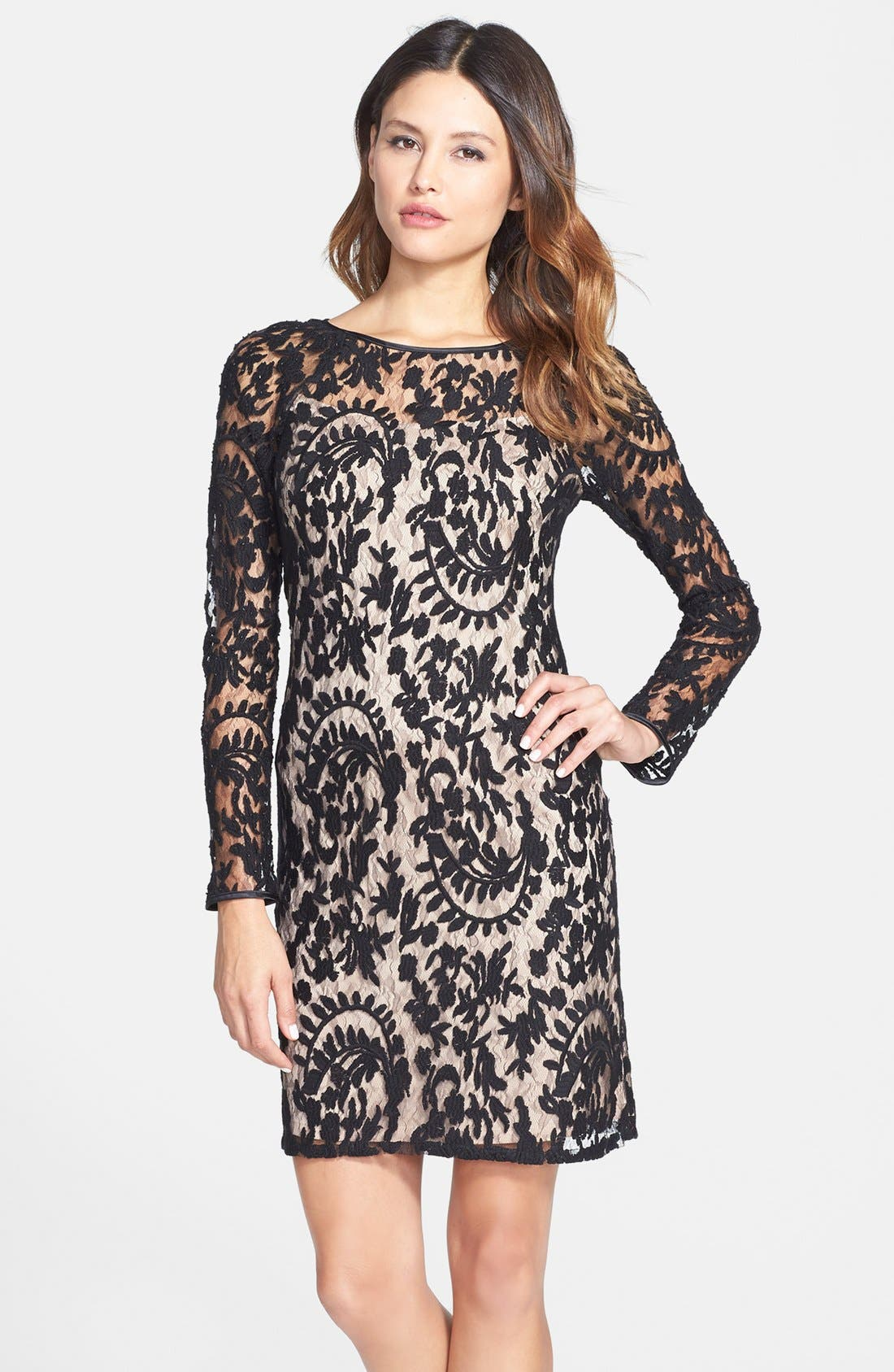 Alternate Image 1 Selected - Adrianna Papell Beaded Embroidered Lace Shift Dress
