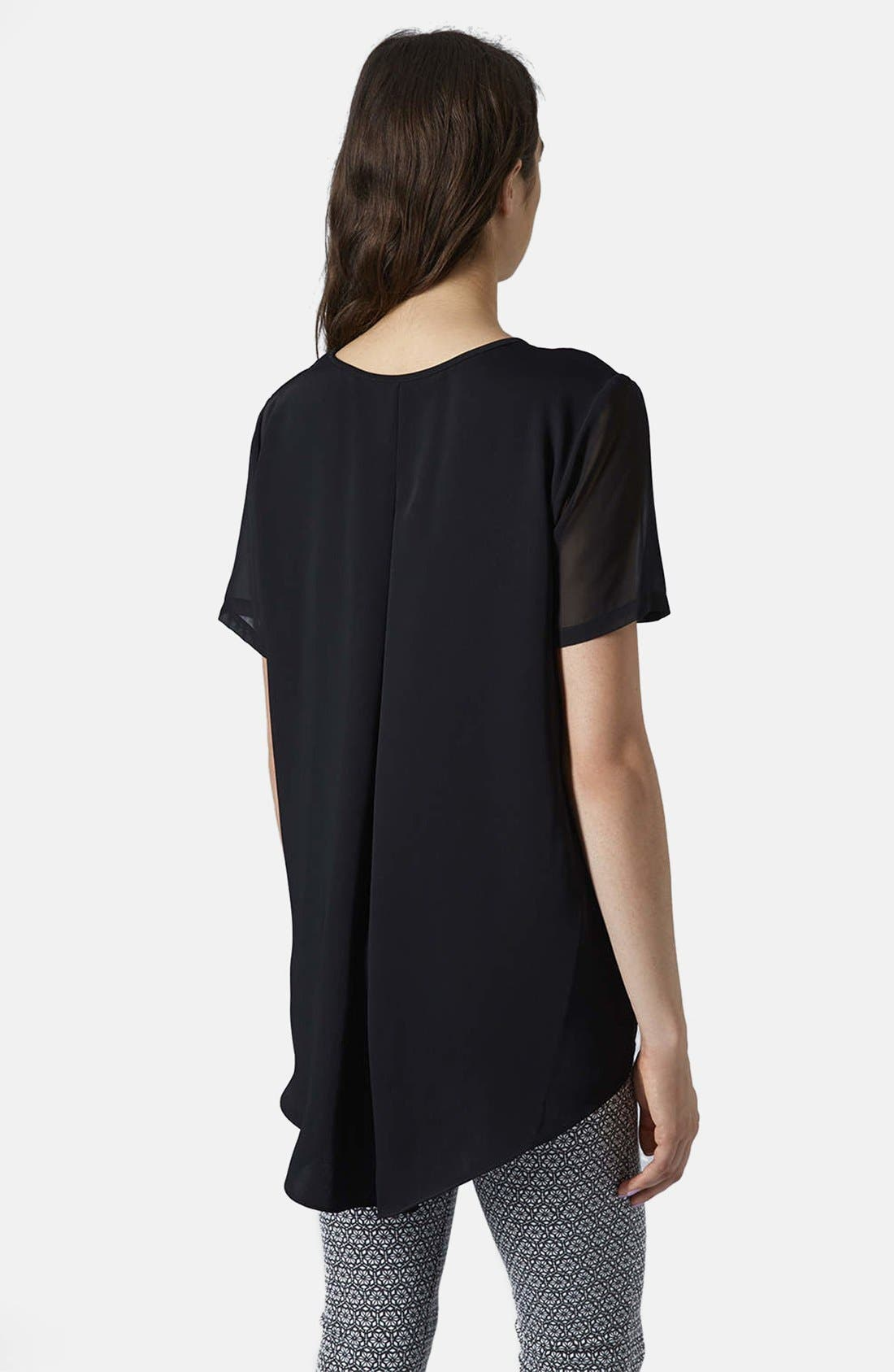 Alternate Image 2  - Topshop Chiffon Sleeve High/Low Top