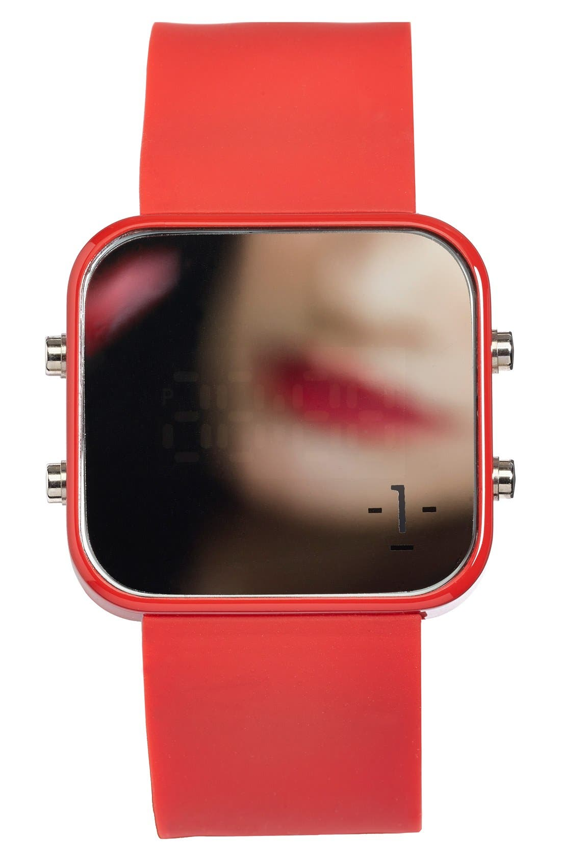 Alternate Image 3  - 1:Face 'AIDS' Square Digital Silicone Strap Watch, 38mm