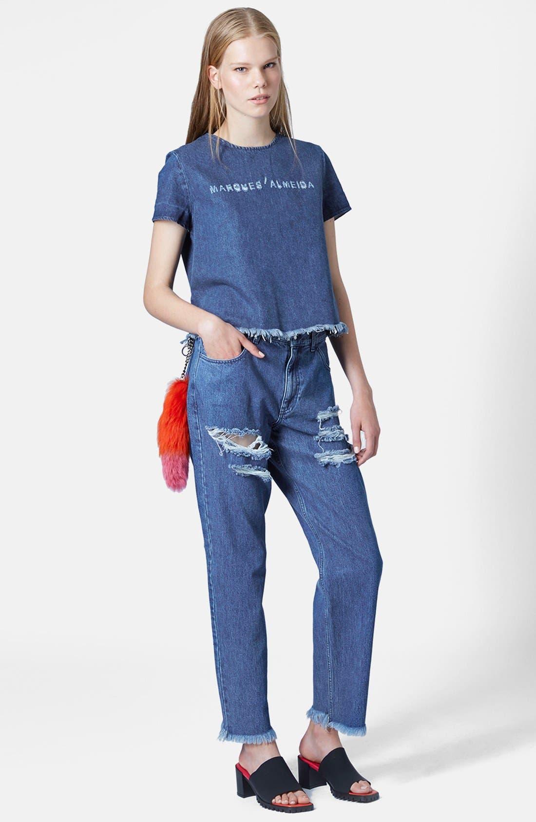 Alternate Image 5  - Marques'Almeida for Topshop Slashed Boyfriend Jeans (Mid Denim)