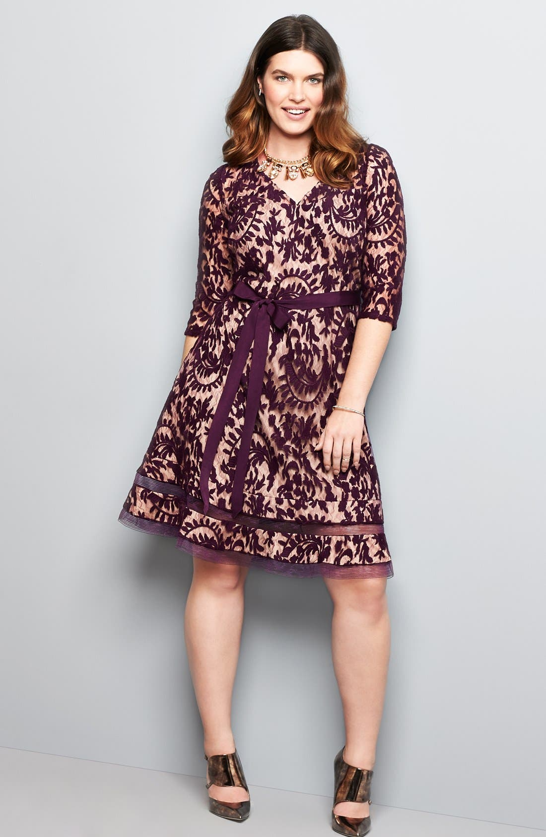 Alternate Image 5  - Adrianna Papell Lace Fit & Flare Dress (Plus Size)