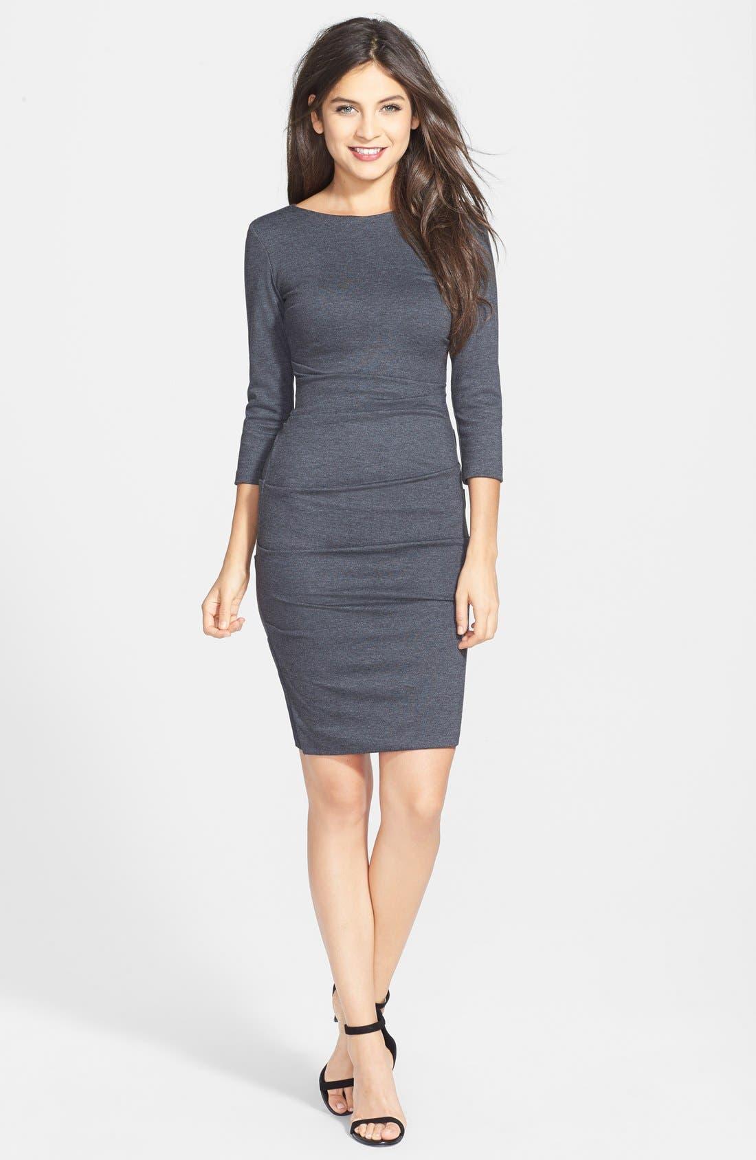 Alternate Image 3  - Nicole Miller Ruched Ponte Knit Sheath Dress