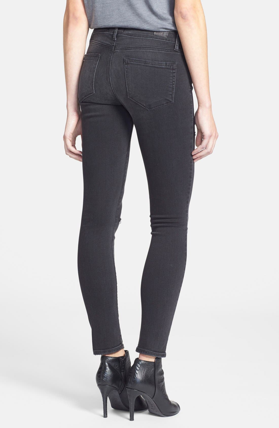 Alternate Image 2  - Paige Denim 'Verdugo' Ultra Skinny Jeans (Rayed Destructed)