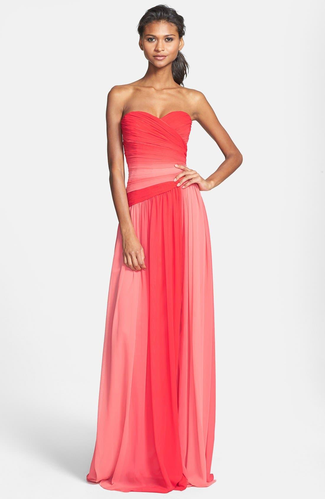 Main Image - ML Monique Lhuillier Bridesmaids Ombré Chiffon Gown