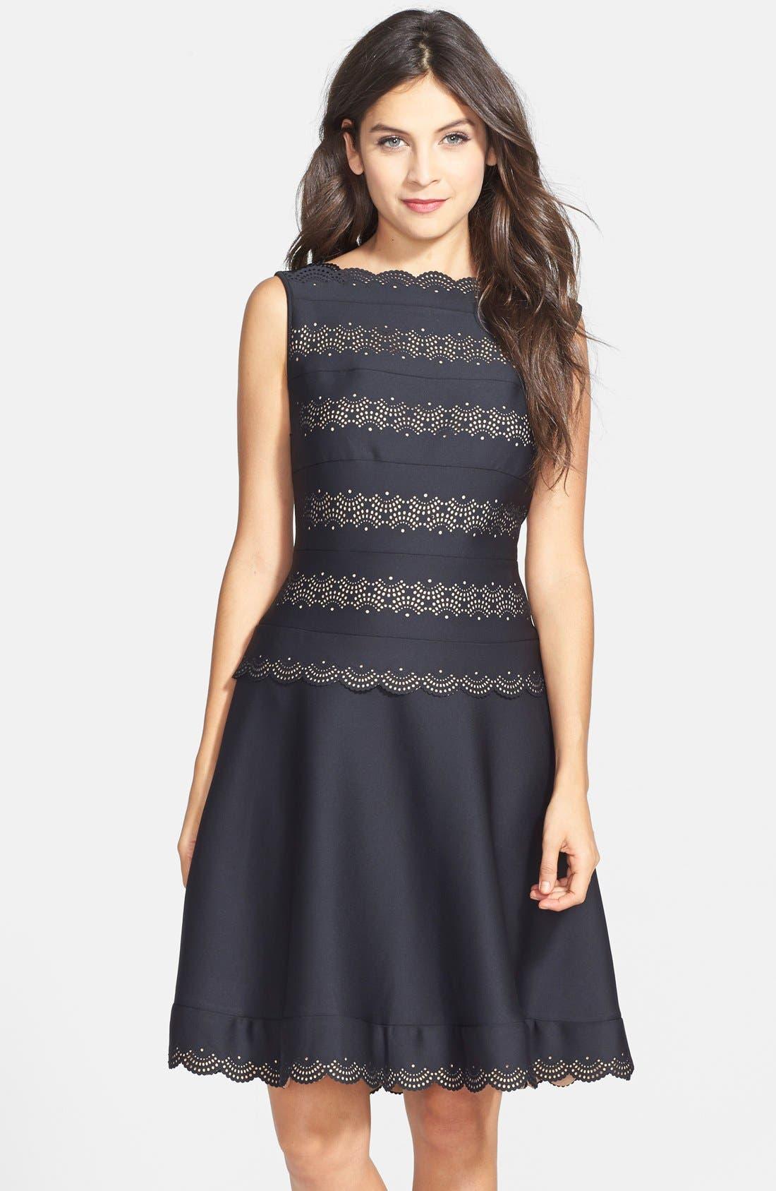 Main Image - Tadashi Shoji Laser Cut Neoprene Fit & Flare Dress