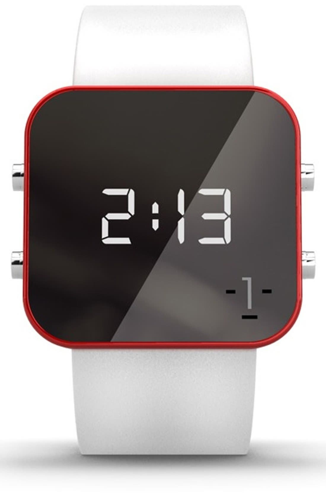 Main Image - 1:Face 'Red Cross' Square Digital Silicone Strap Watch, 38mm
