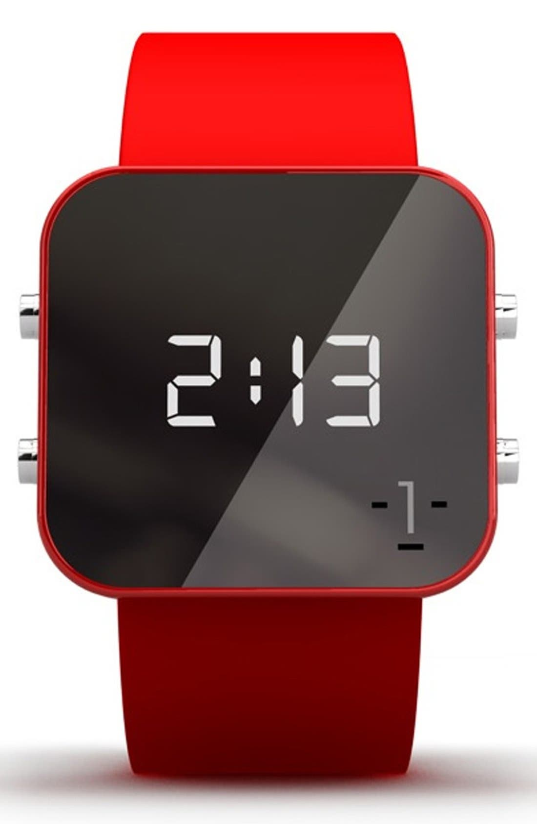 Main Image - 1:Face 'AIDS' Square Digital Silicone Strap Watch, 38mm