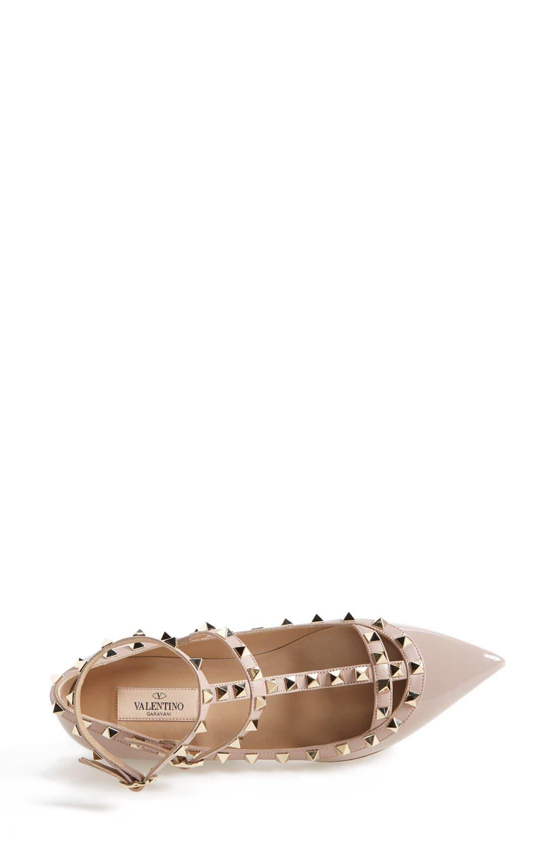Alternate Image 3  - Valentino 'Rockstud' Patent Leather T-Strap Ballerina Flat (Women)
