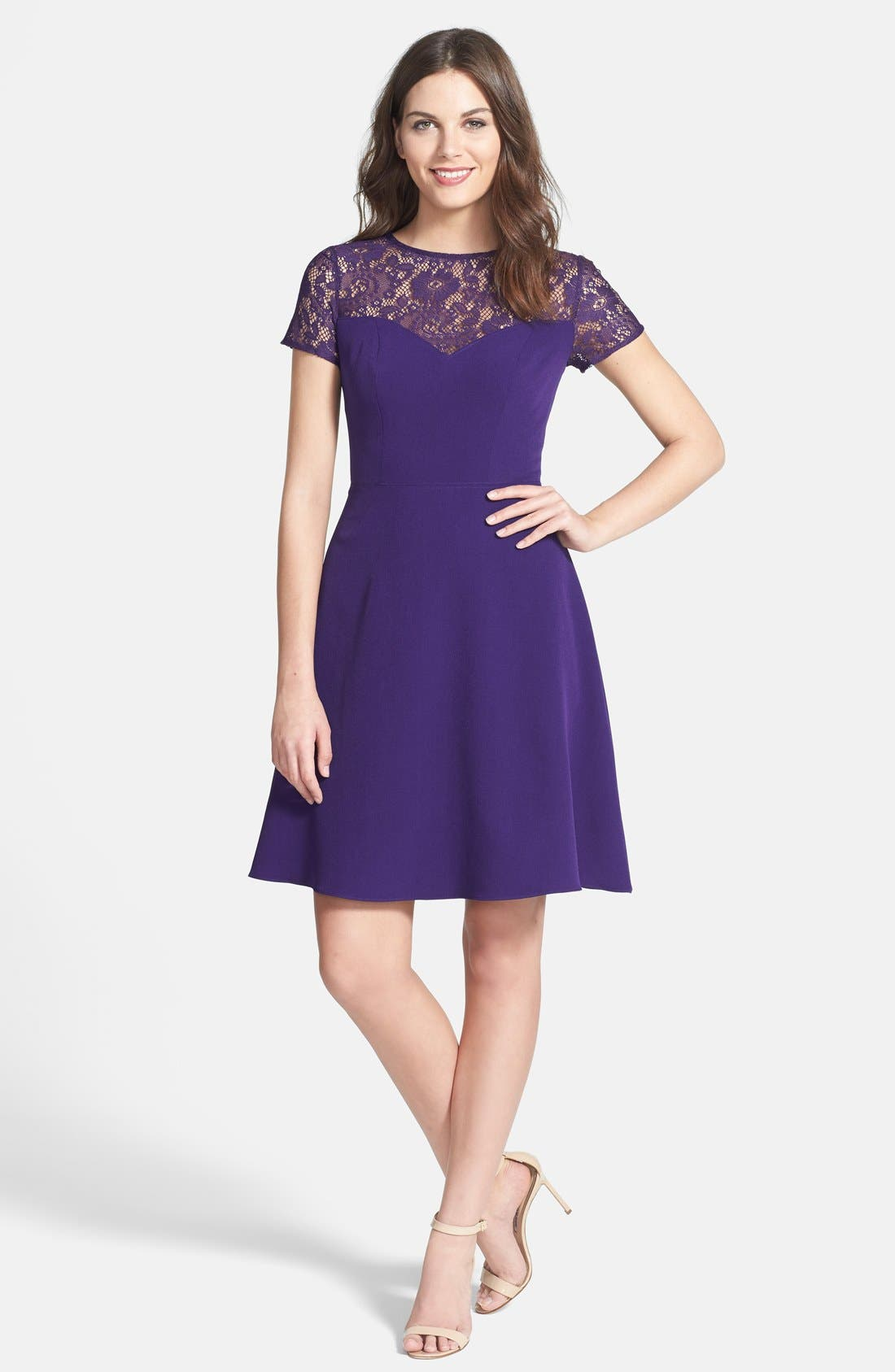 Alternate Image 3  - Adrianna Papell Lace & Crepe Fit & Flare Dress