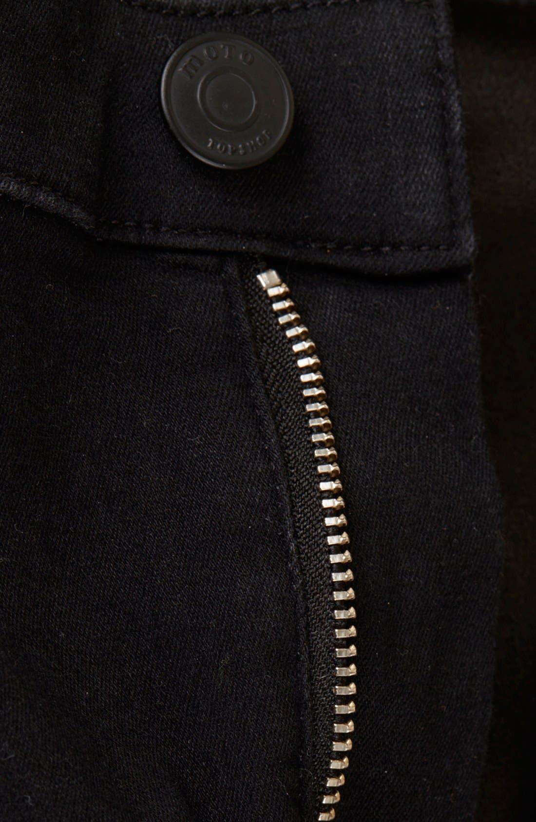 Alternate Image 4  - Topshop Moto 'Joni' High Rise Skinny Jeans (Black)