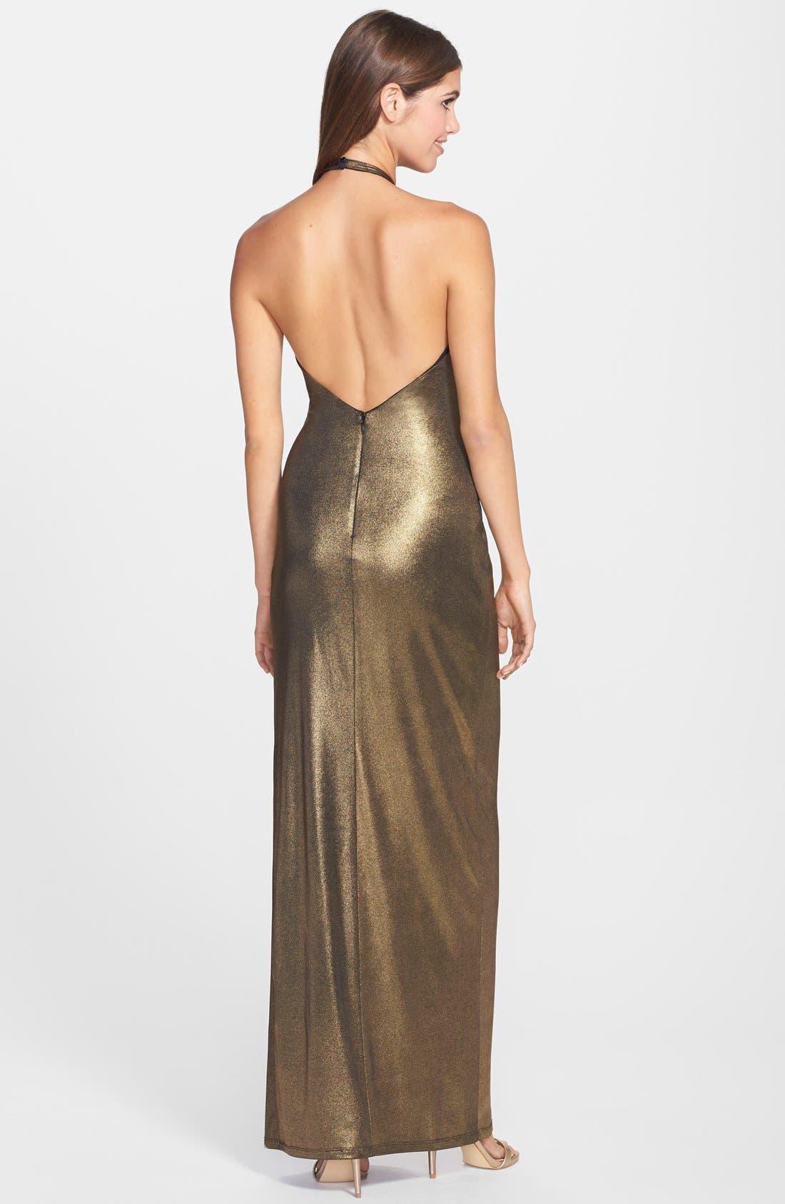 Alternate Image 2  - Halston Heritage Metallic Twist Front Halter Gown
