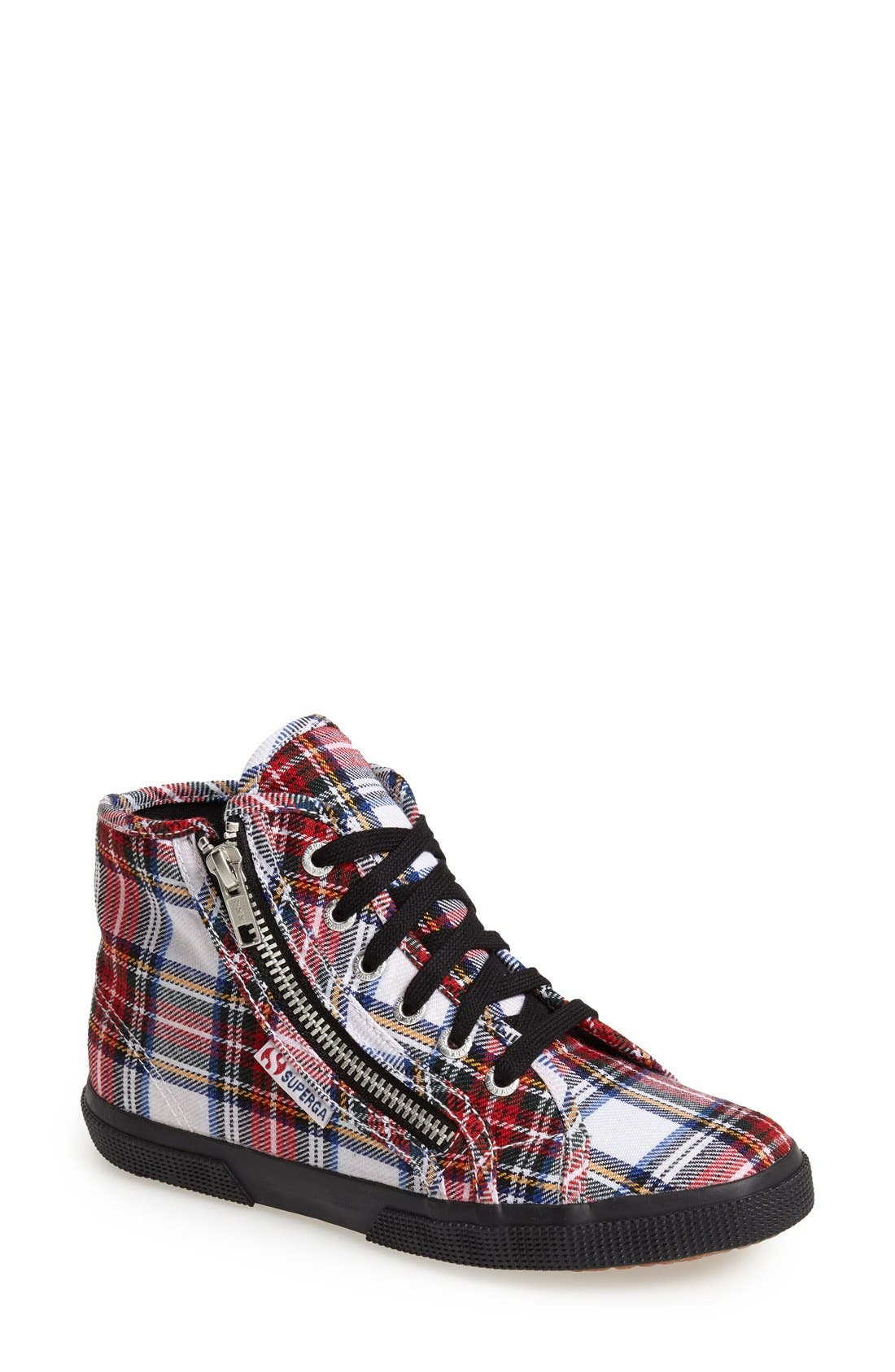 Main Image - Superga Tartan Print High-Top Sneaker (Women)