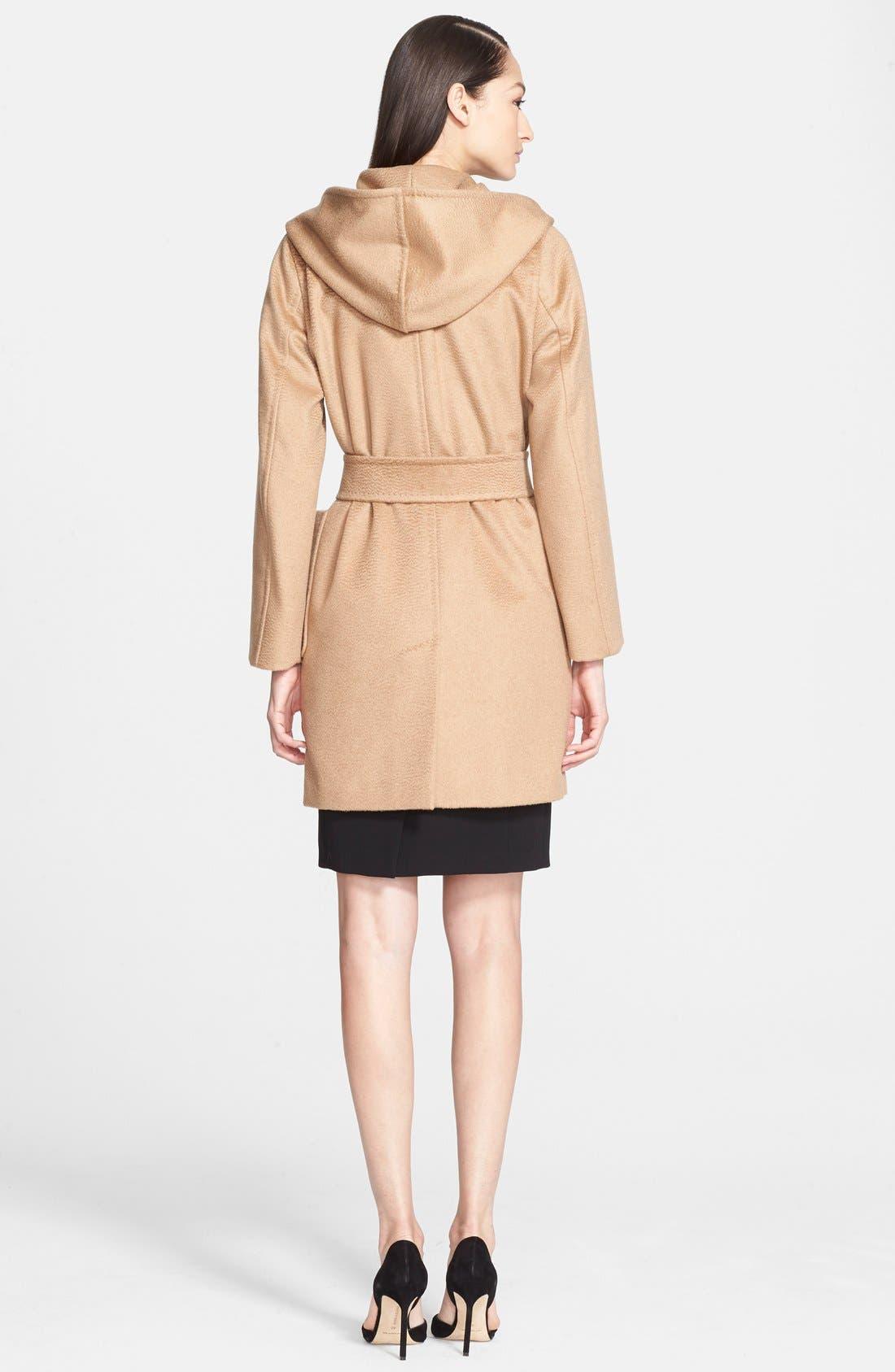 Alternate Image 2  - Max Mara 'Rialto' Hooded Camel Hair Wrap Coat