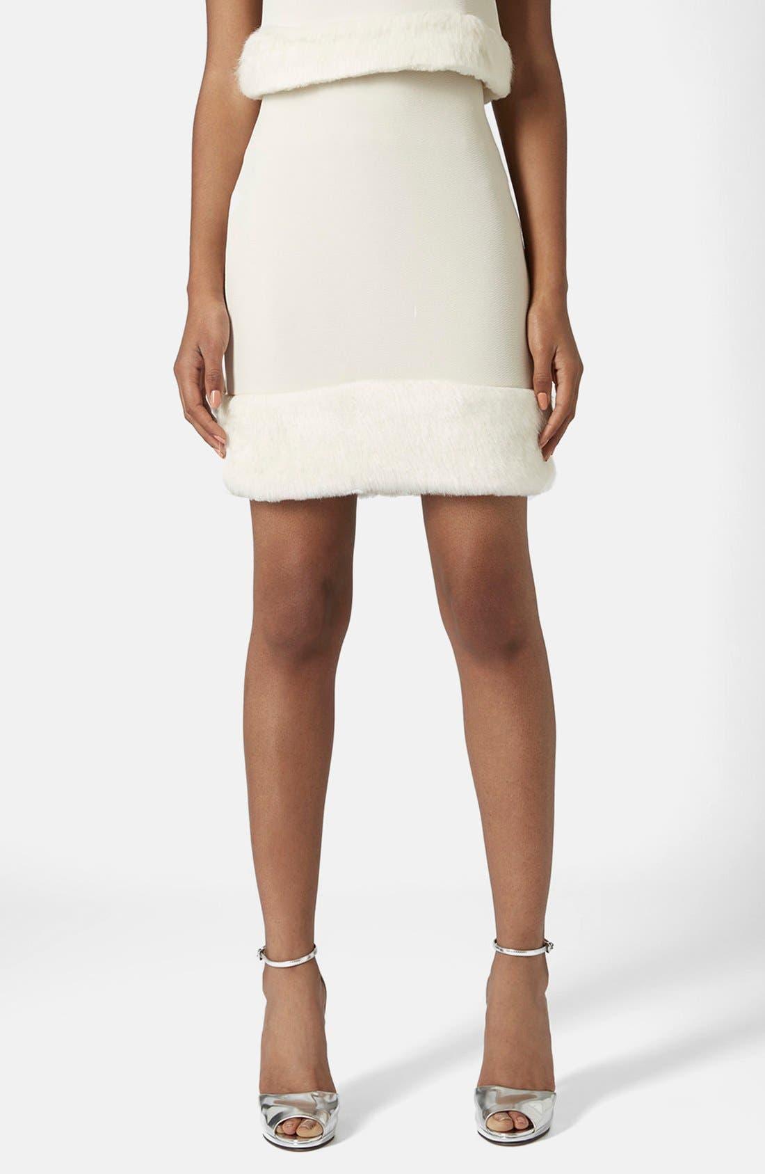 Main Image - Topshop Faux Fur Hem Miniskirt