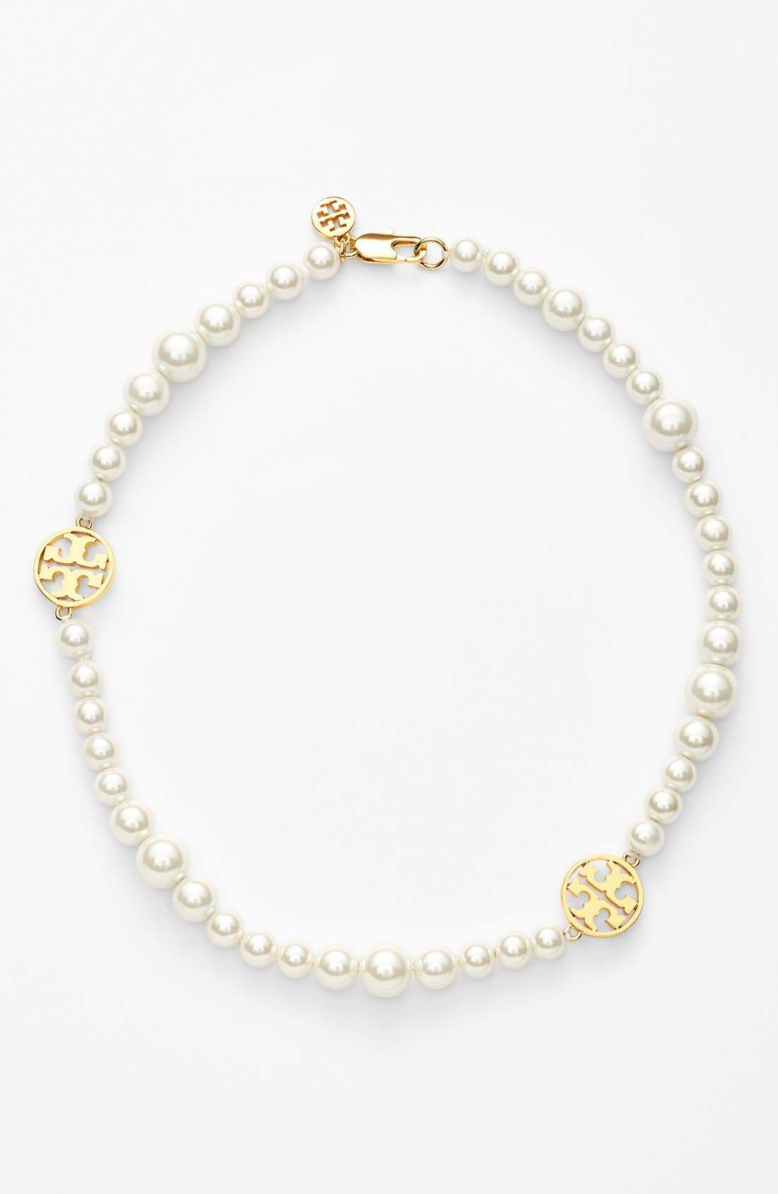 Main Image - Tory Burch 'Evie' Logo & Glass Pearl Collar Necklace