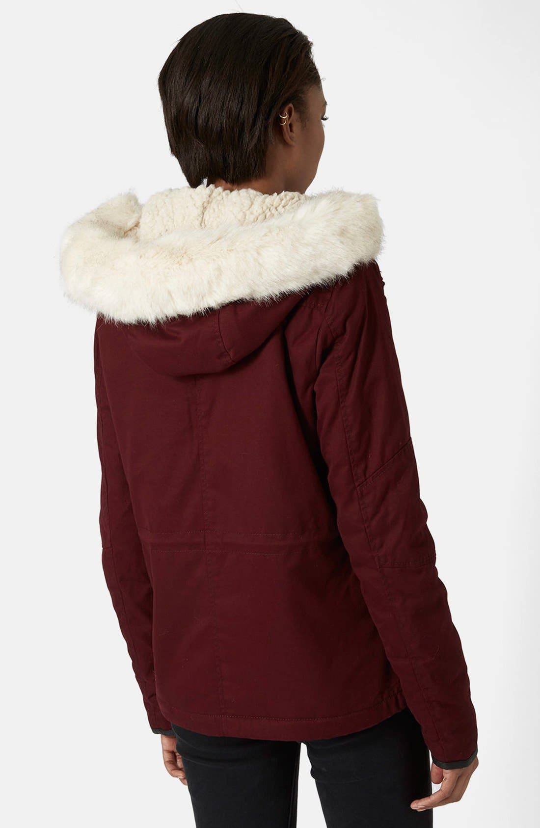 Alternate Image 2  - Topshop 'Walter' Hooded Cotton Parka with Faux Fur Trim