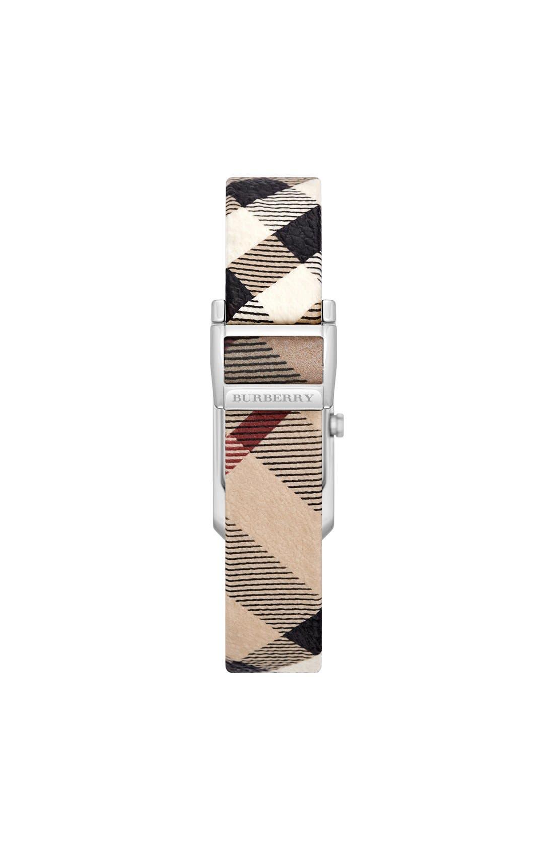 Alternate Image 2  - Burberry Rectangular Check Strap Watch, 20mm x 26mm