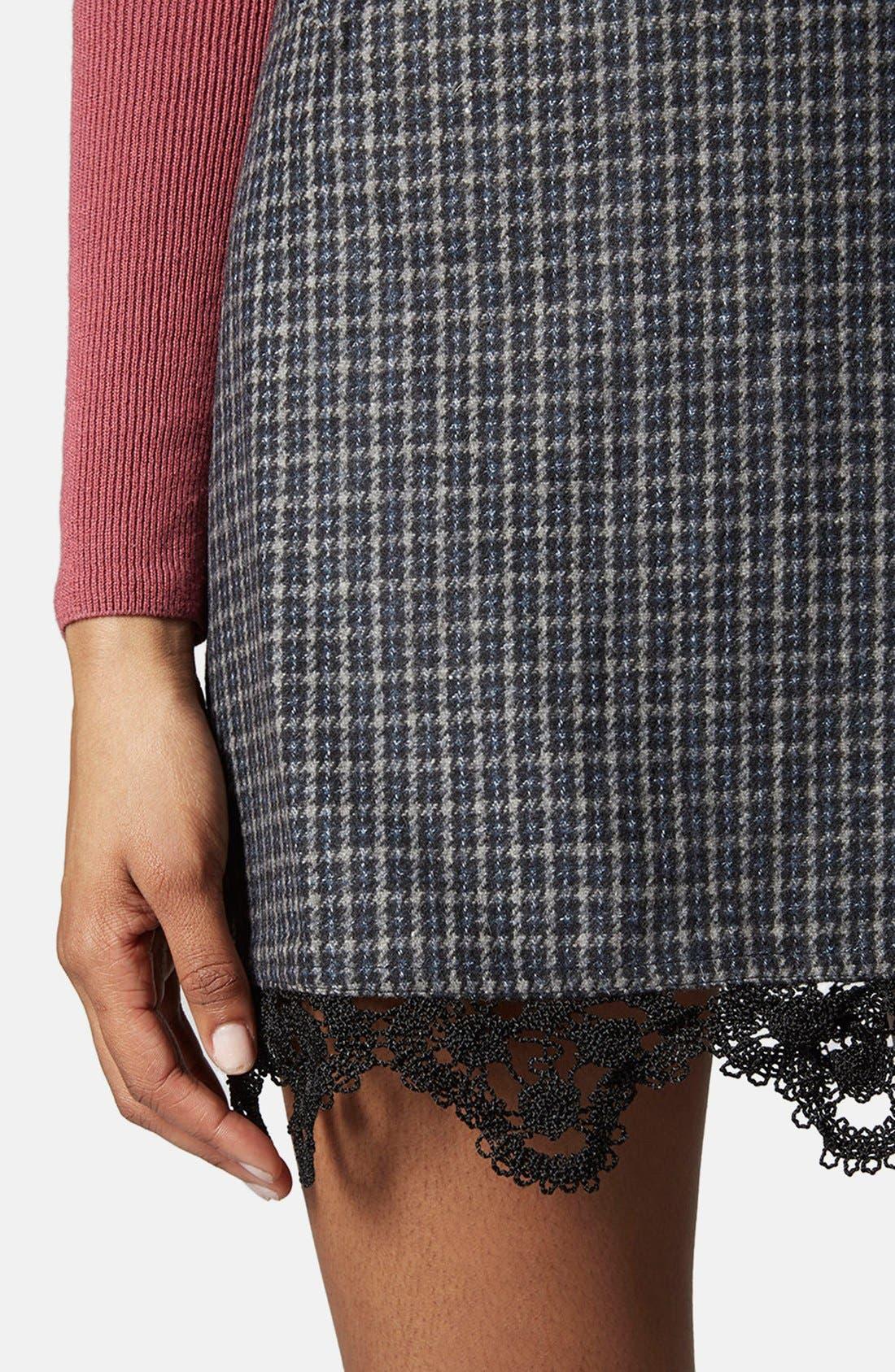 Alternate Image 4  - Topshop Tweed Lace Miniskirt