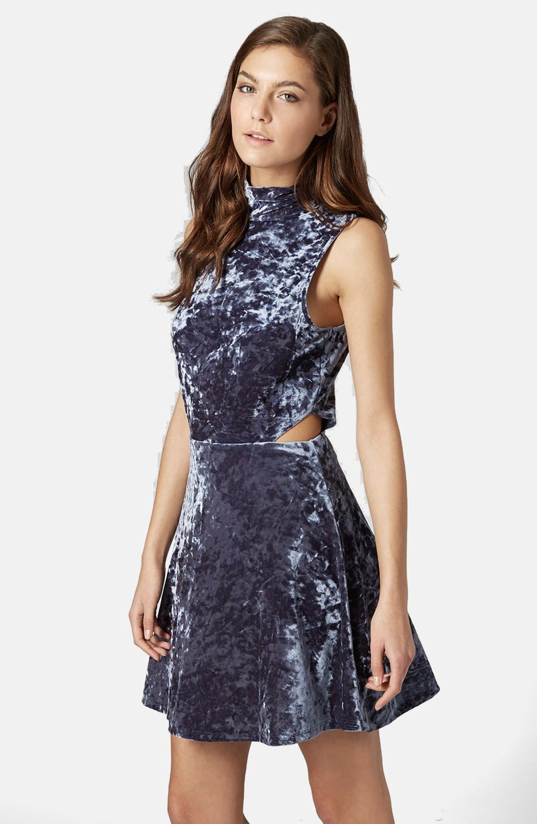 Main Image - Topshop Cutout Velvet Dress
