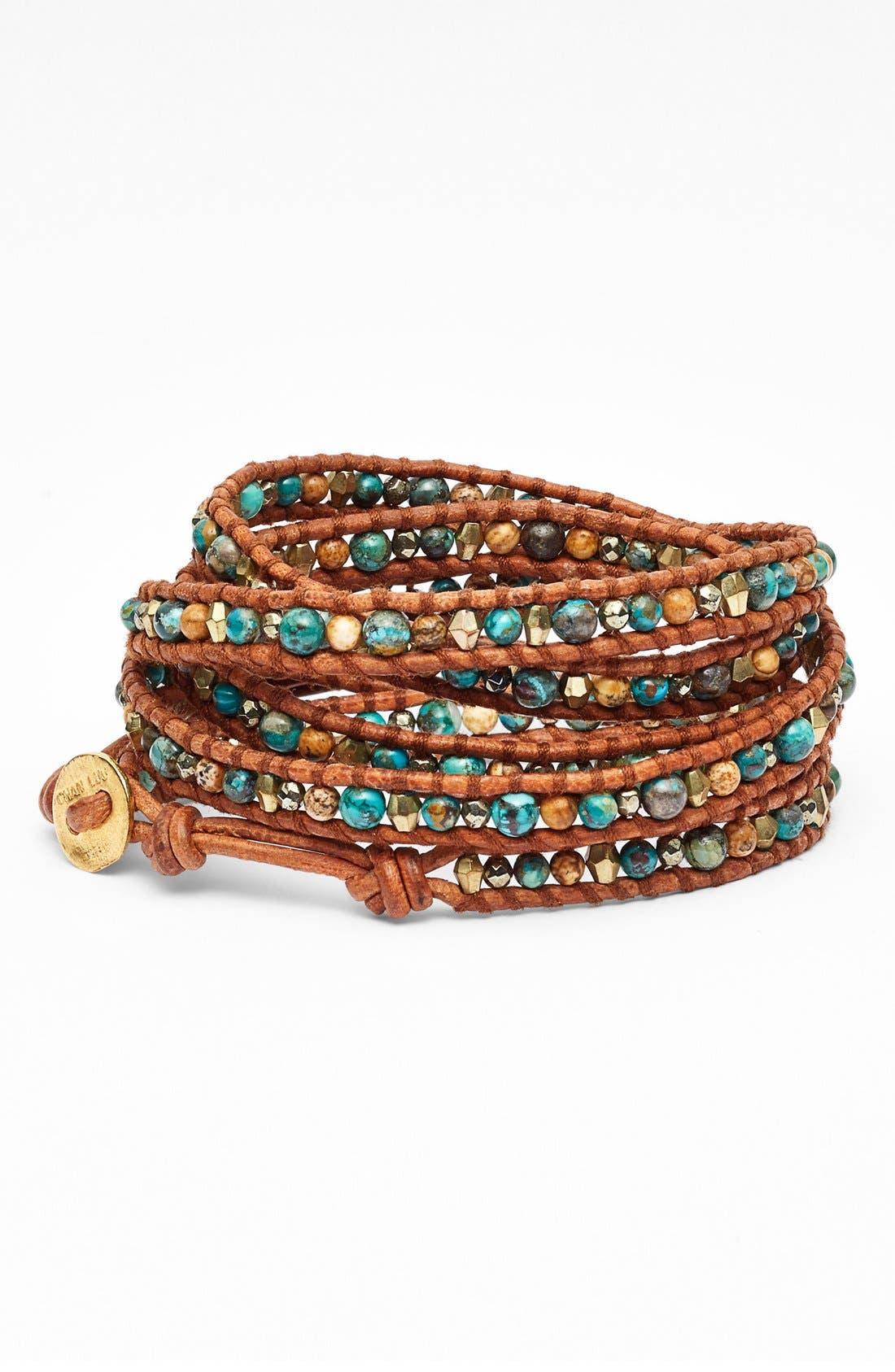 Alternate Image 1 Selected - Chan Luu Beaded Leather Wrap Bracelet
