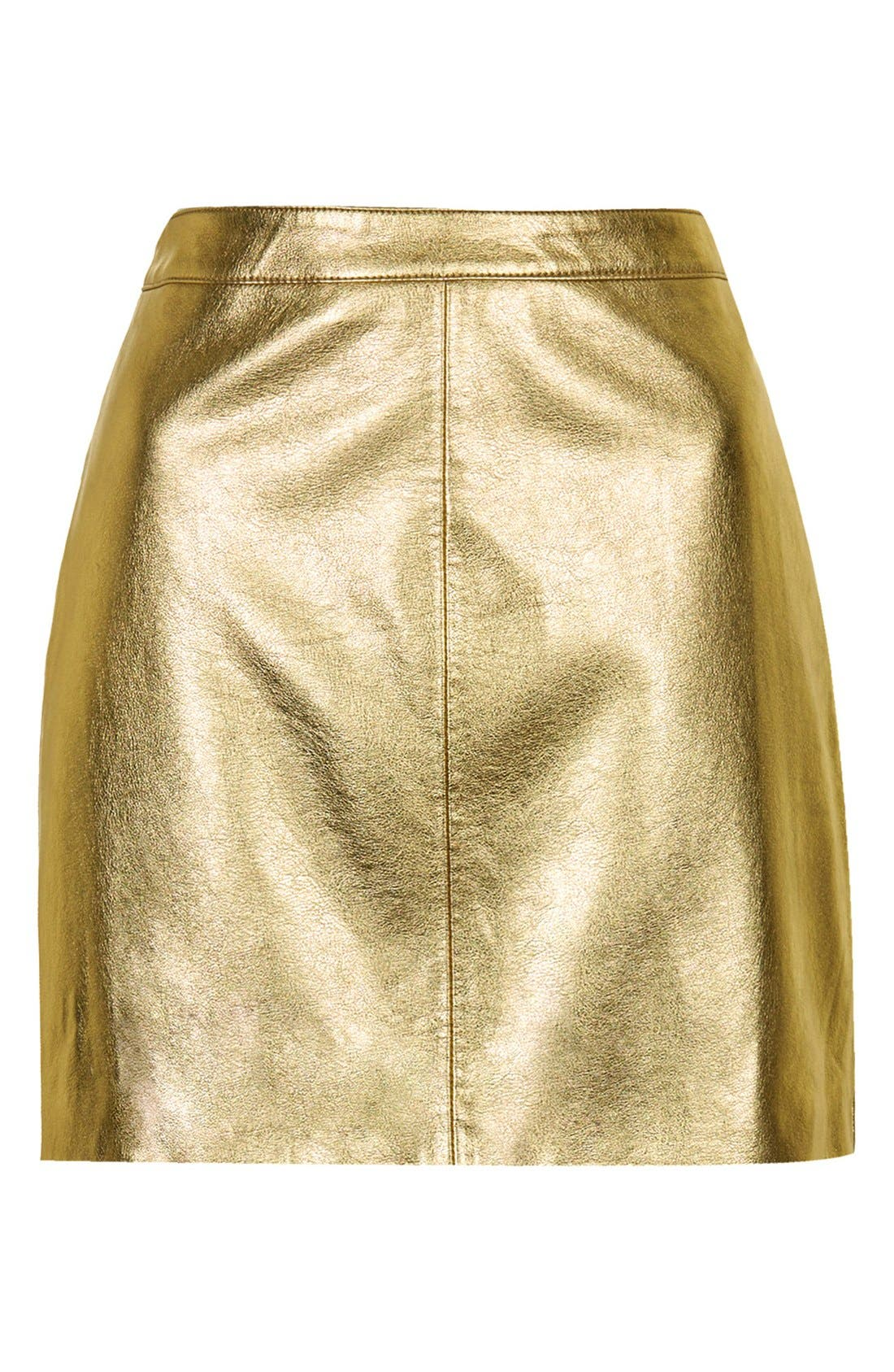 Alternate Image 3  - Topshop Golden Miniskirt