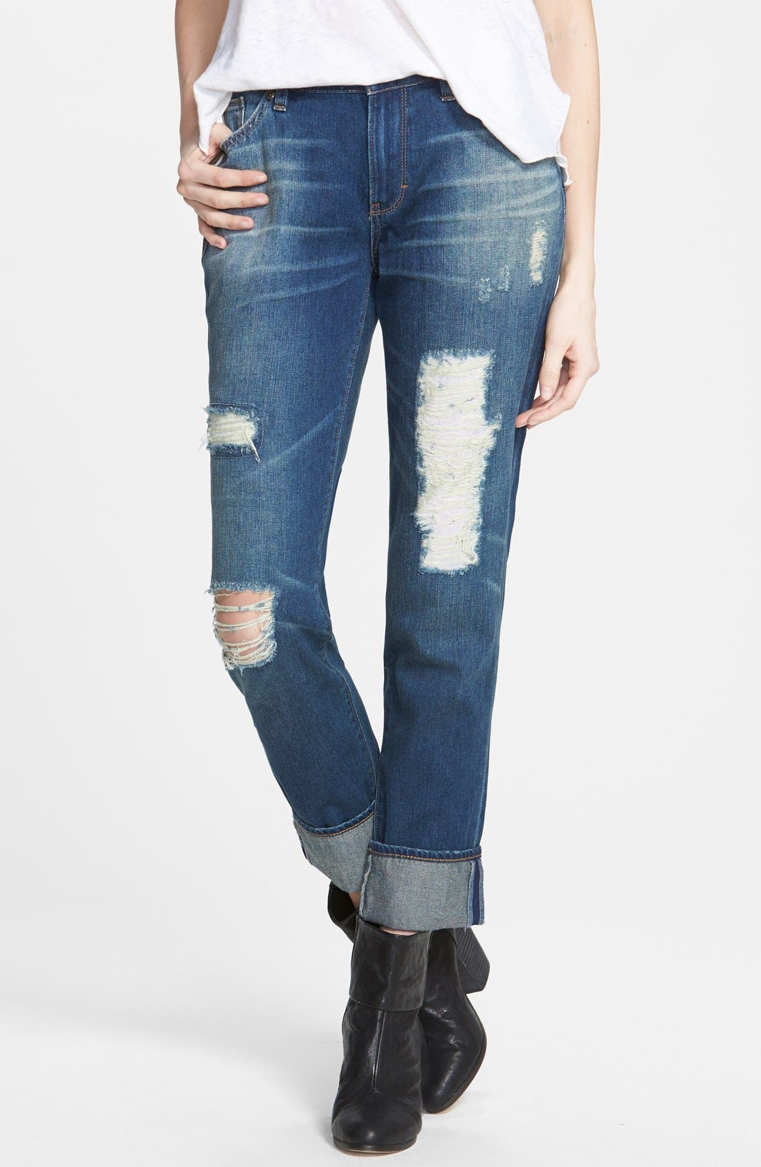 Alternate Image 1 Selected - Dittos Relaxed Straight Leg Jeans (Blue)
